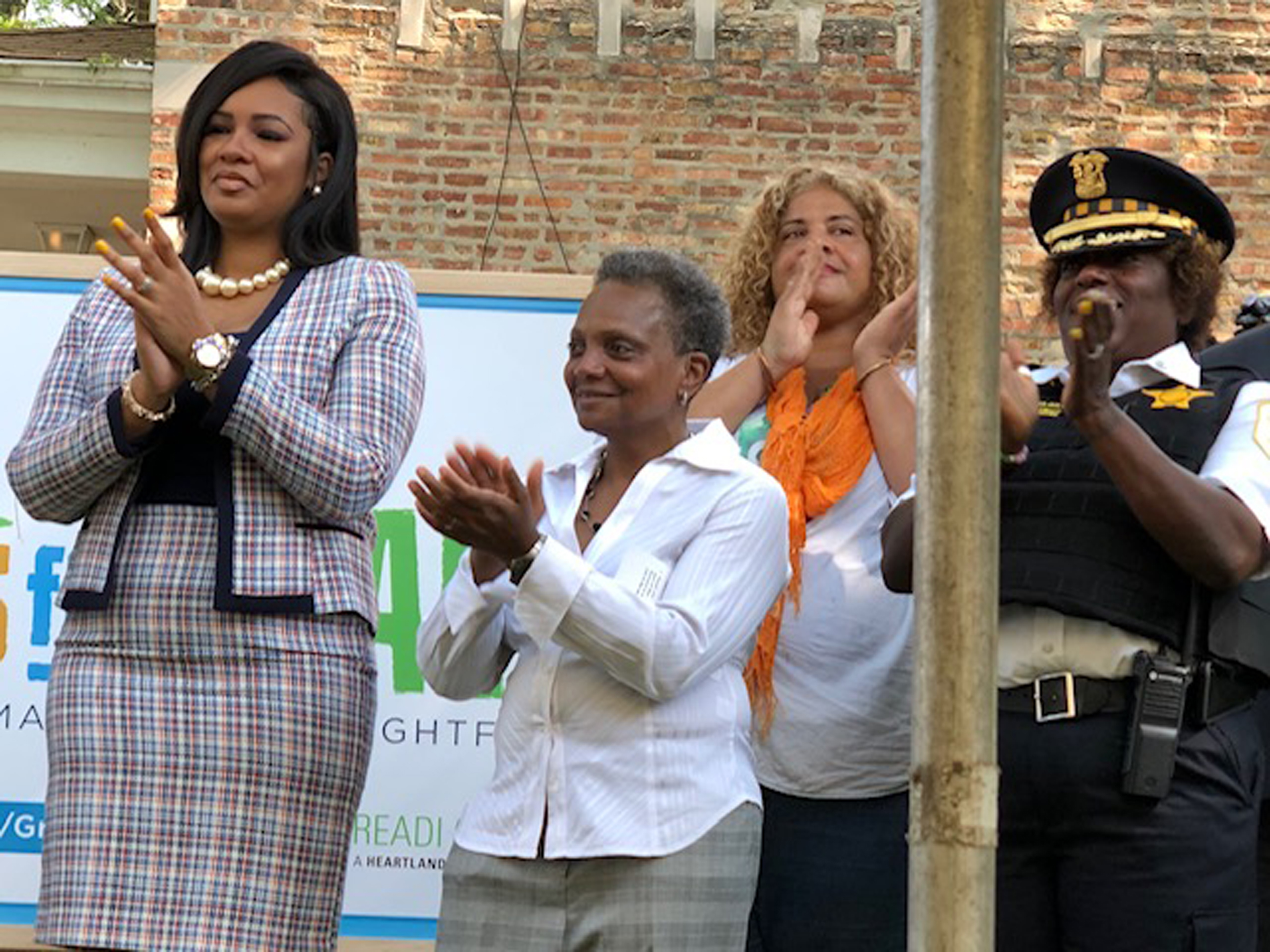 Mayor Lori Lightfoot, (left) Ald. Stephanie Coleman (16th) and Erika Allen (right),