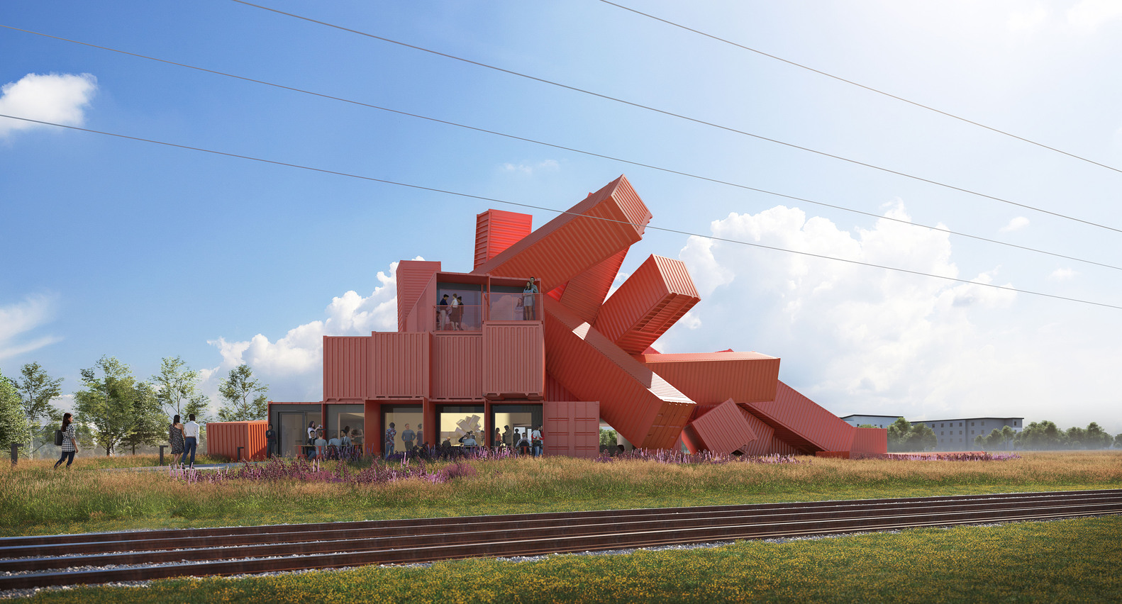Shipping container building concept is part office, part sculpture