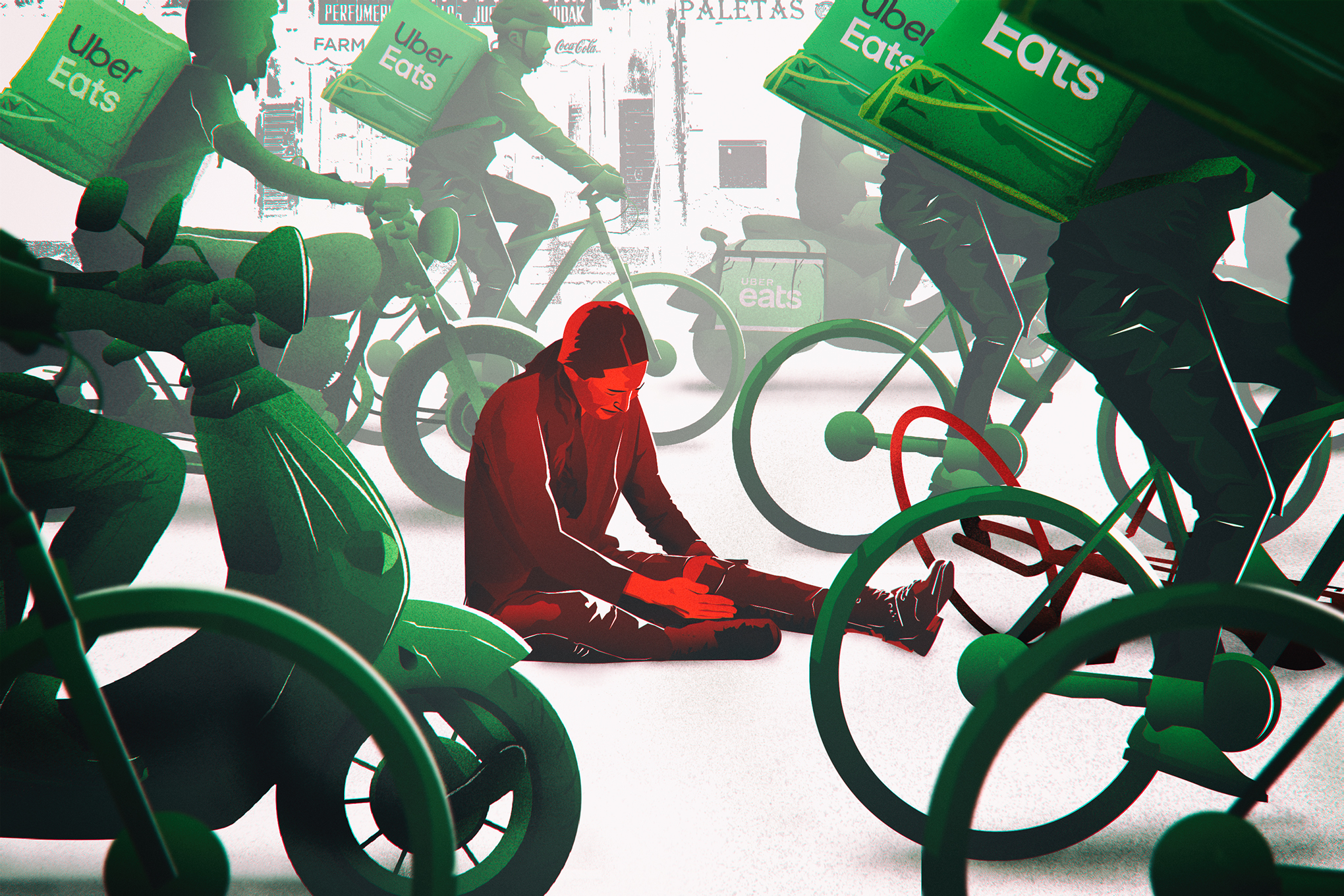 an illustration of a woman in pain and holding her leg on the ground, surrounded by uber eats couriers and people on bicycles