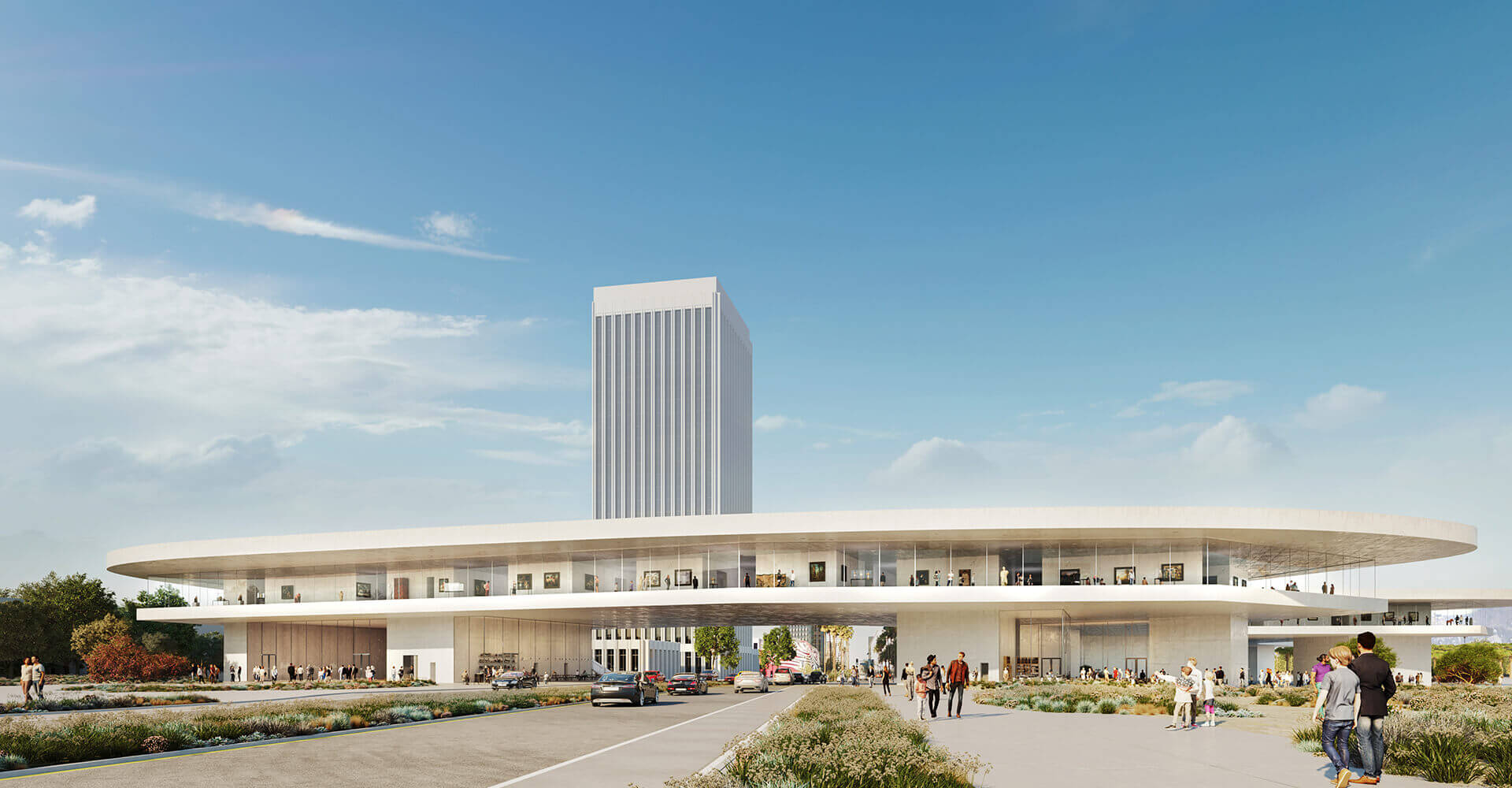 A rendering of a large, beige structure spanning Wilshire Boulevard.