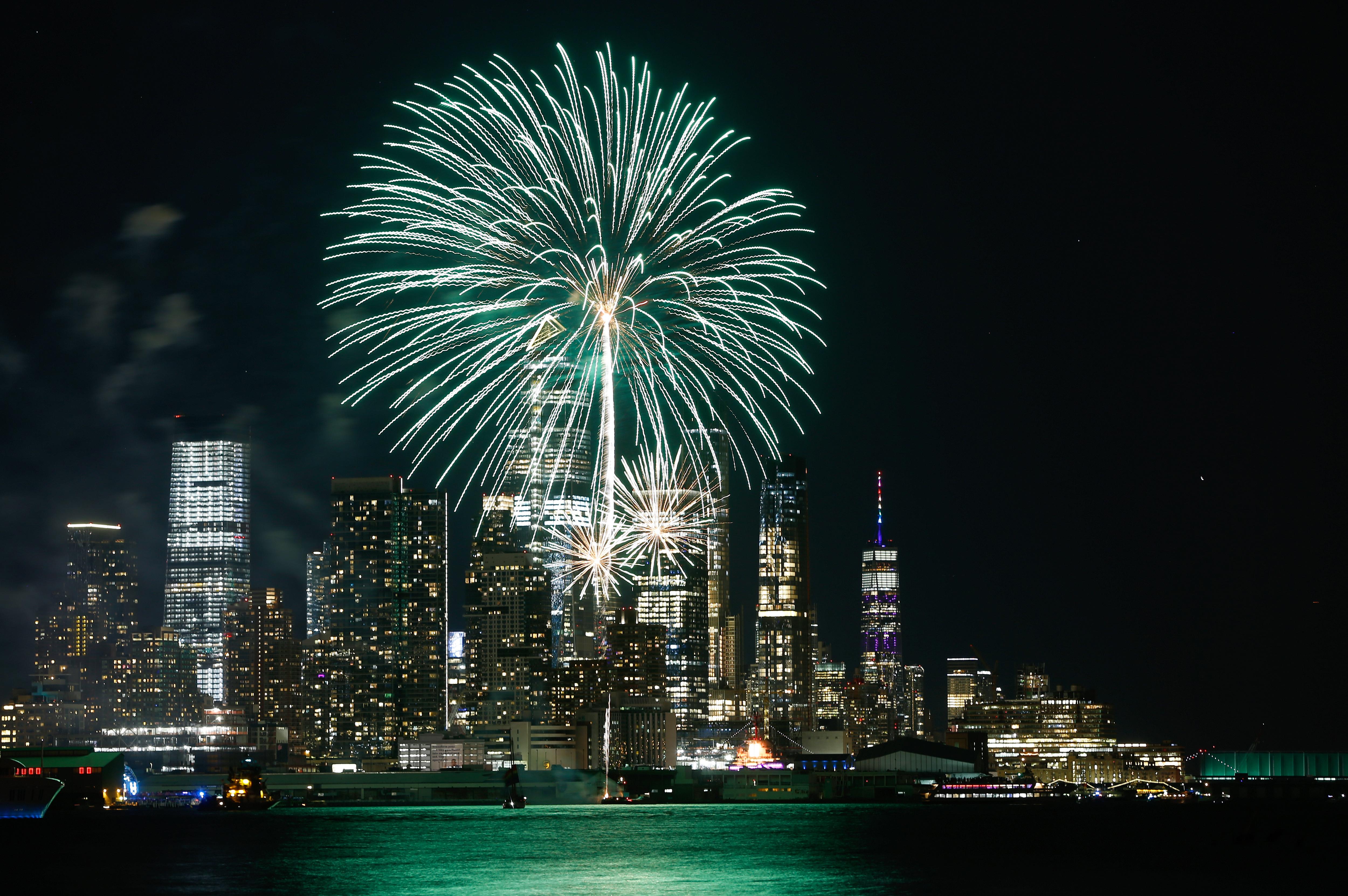 Fireworks Celebrate Pride Day in New York City