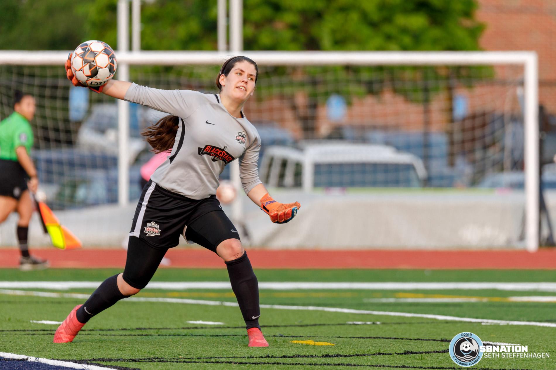 June 2, 2019 - Saint Paul, Minnesota, United States - Fire SC 98 goalkeeper Olivia Elvidge (0) throws the ball back into play during the Fire SC 98 vs MapleBrook Fury match at Sea Foam Stadium.