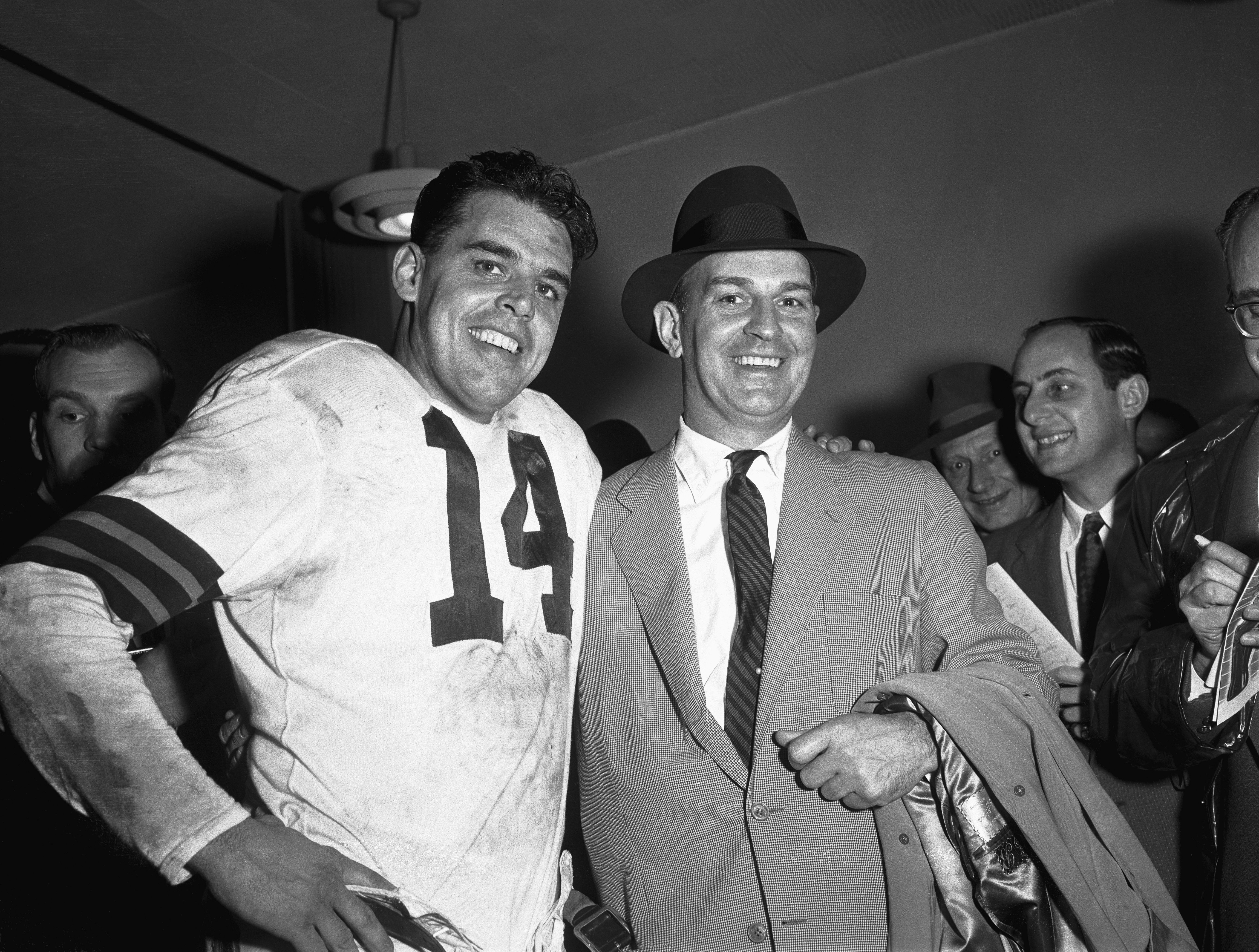 Otto Graham and Paul Brown Smiling