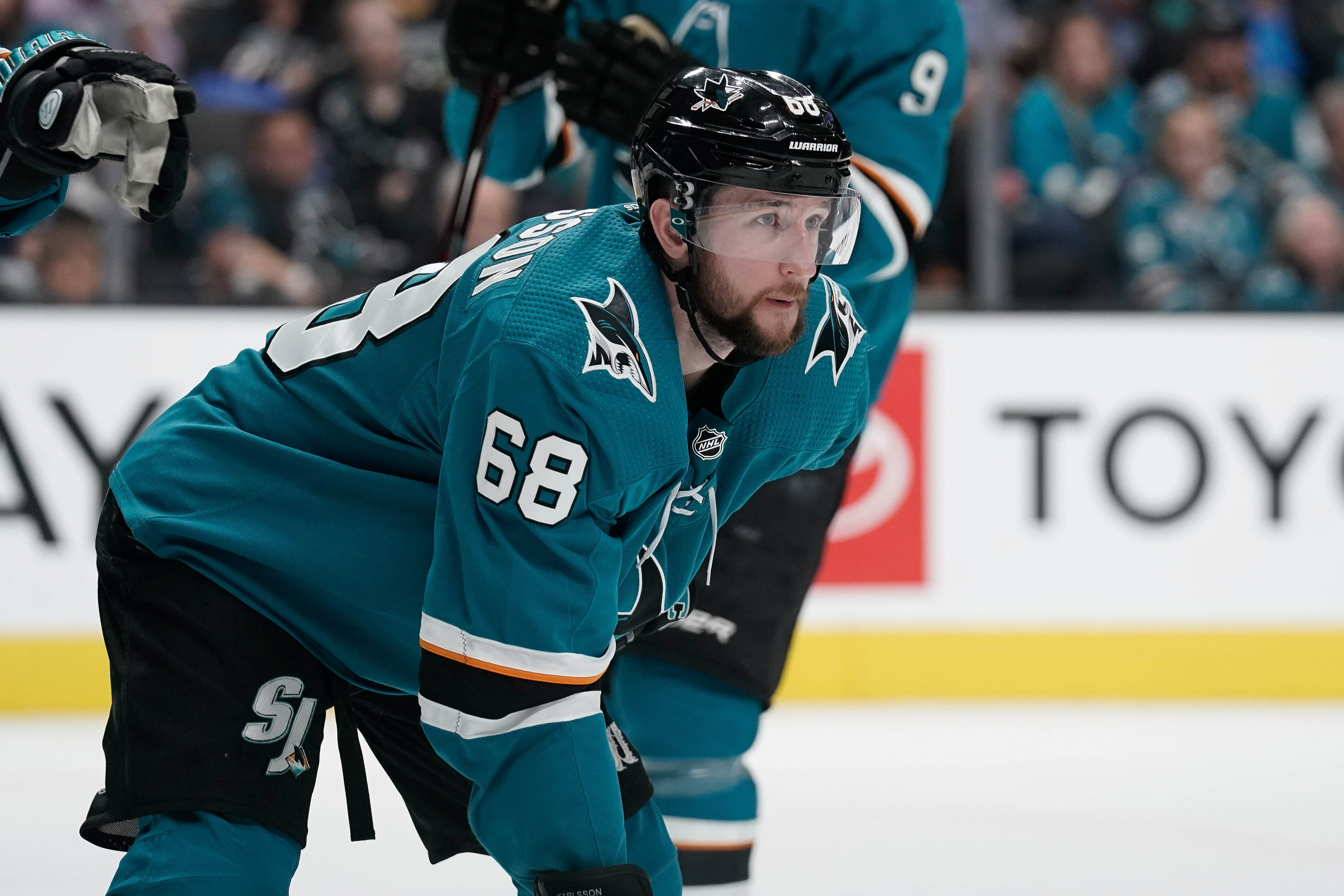 Apr 23, 2019; San Jose, CA, USA; San Jose Sharks center Melker Karlsson (68) prepares for the next play against the Vegas Golden Knights during the second period in Game 7 of the first round of the 2019 Stanley Cup Playoffs at SAP Center at San Jose.