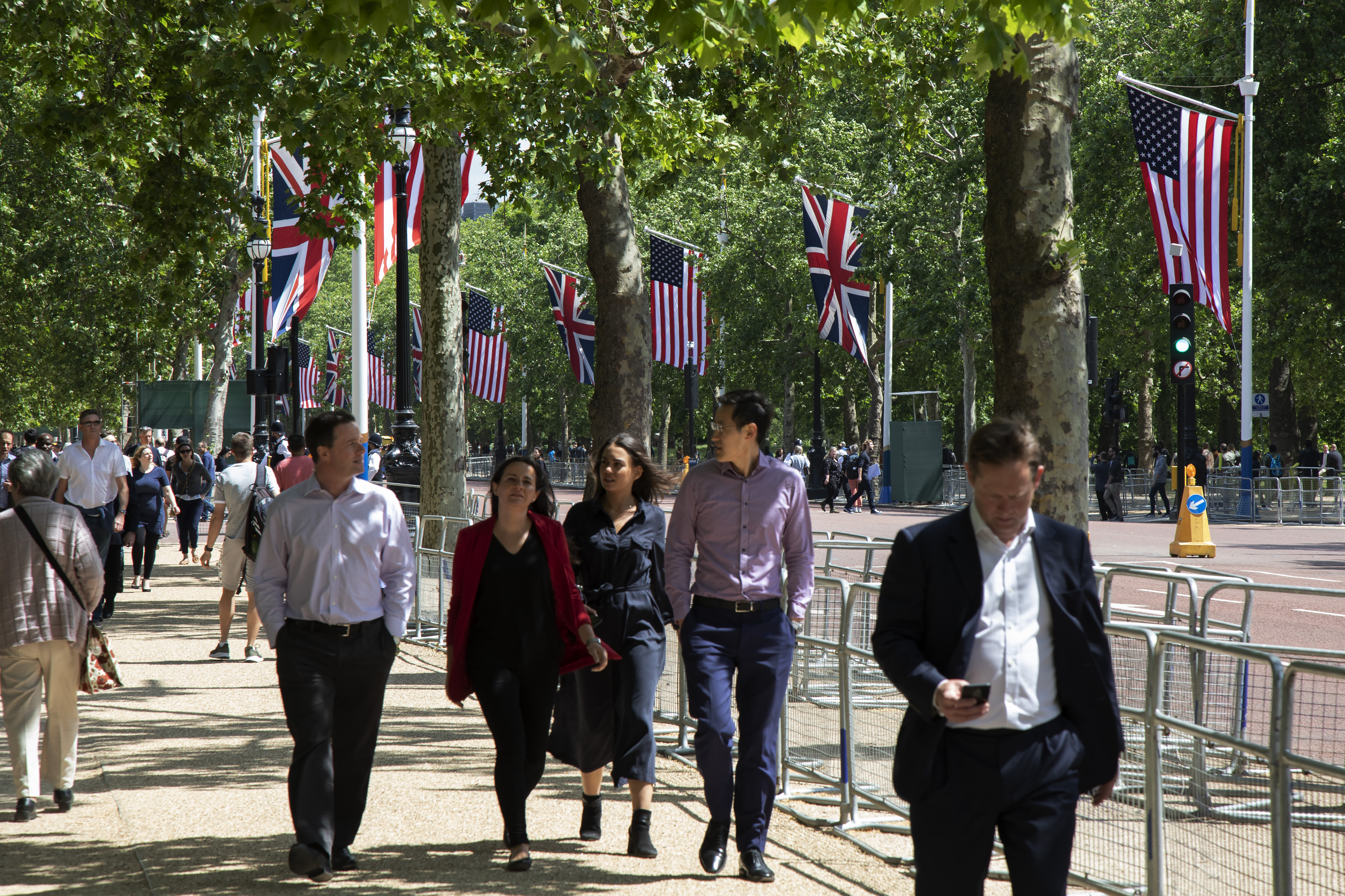 US and UK flags line London's Mall during Donald Trump's state visit.