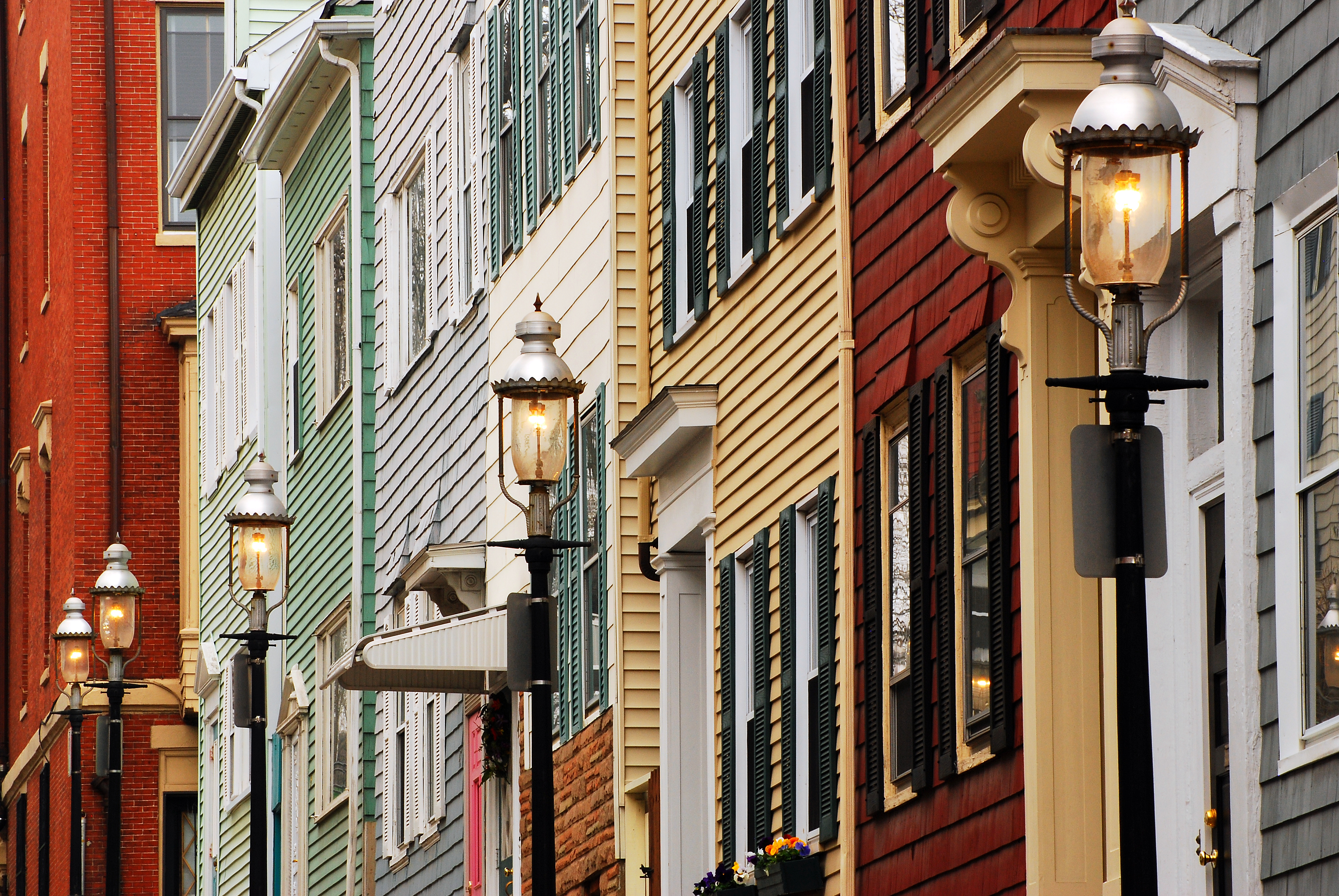 Rowhouses in Charlestown's gas-light district