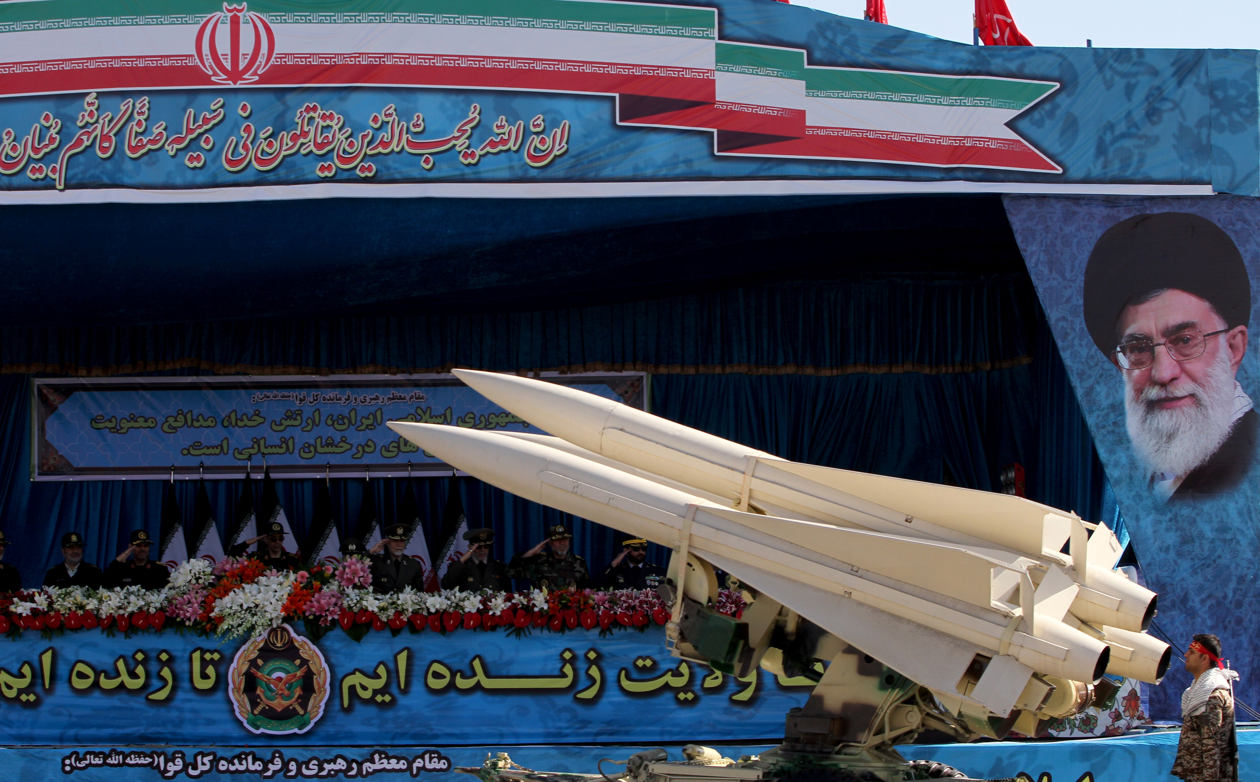 An Iranian military truck carries a US-made Hawk air-defense missile system during a parade on the occasion of the country's Army Day on April 18, 2017 in Tehran.