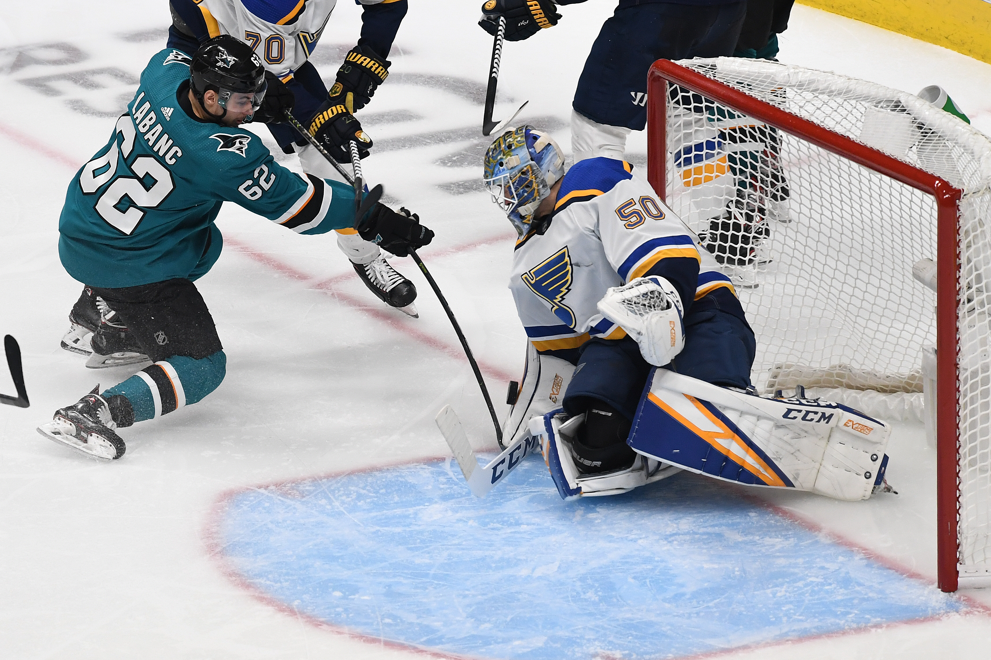 Jordan Binnington of the St. Louis Blues makes a save on a shot by Kevin Labanc of the San Jose Sharks in Game 5 of the Western Conference Final during the 2019 NHL Stanley Cup Playoffs at SAP Center on May 19, 2019 in San Jose, California.