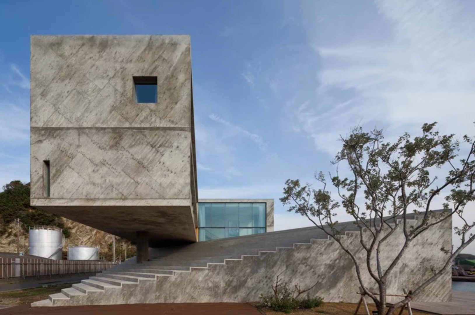 Concrete house with concrete stairs