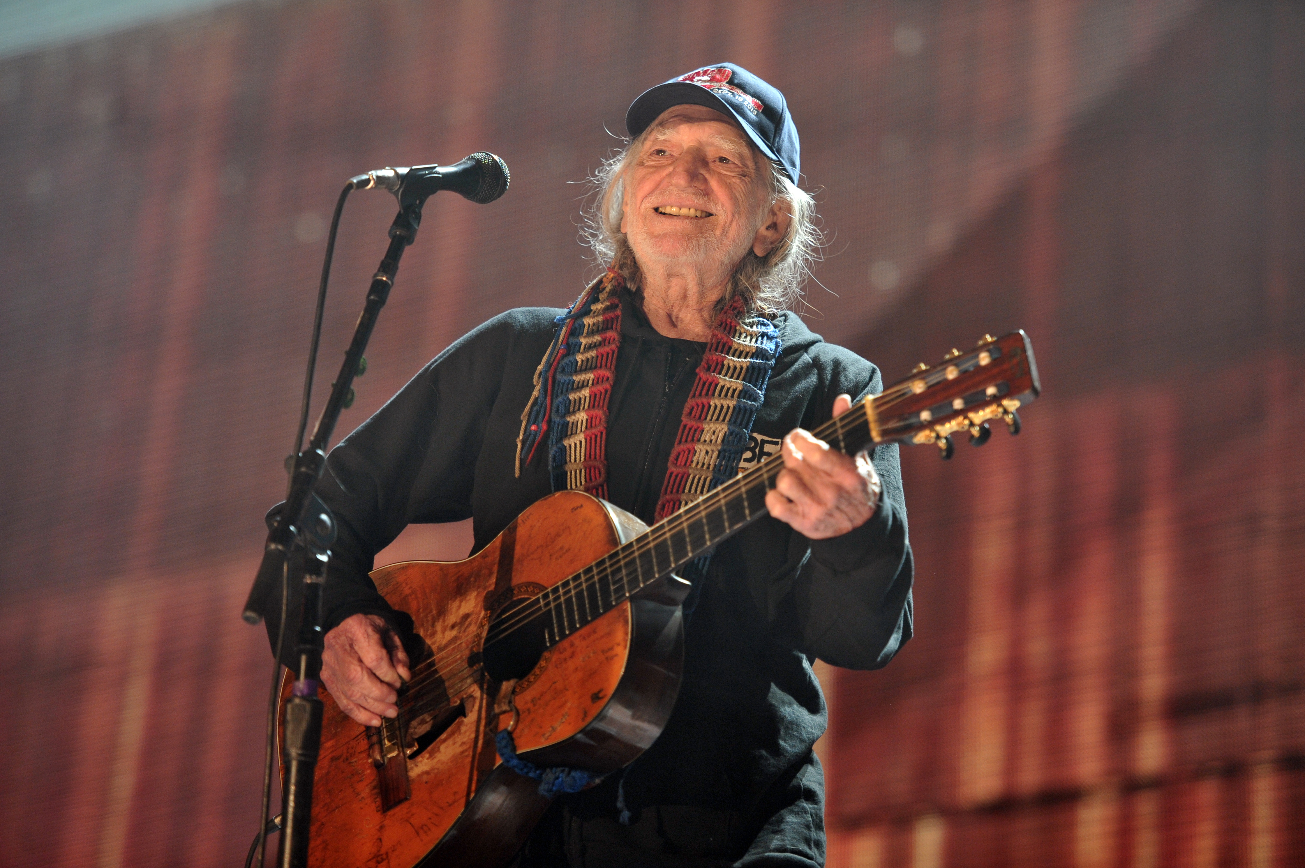 Willie Nelson performs at Farm Aid 30 at FirstMerit Bank Pavilion at Northerly Island on Saturday. | Rob Grabowski/Invision/AP