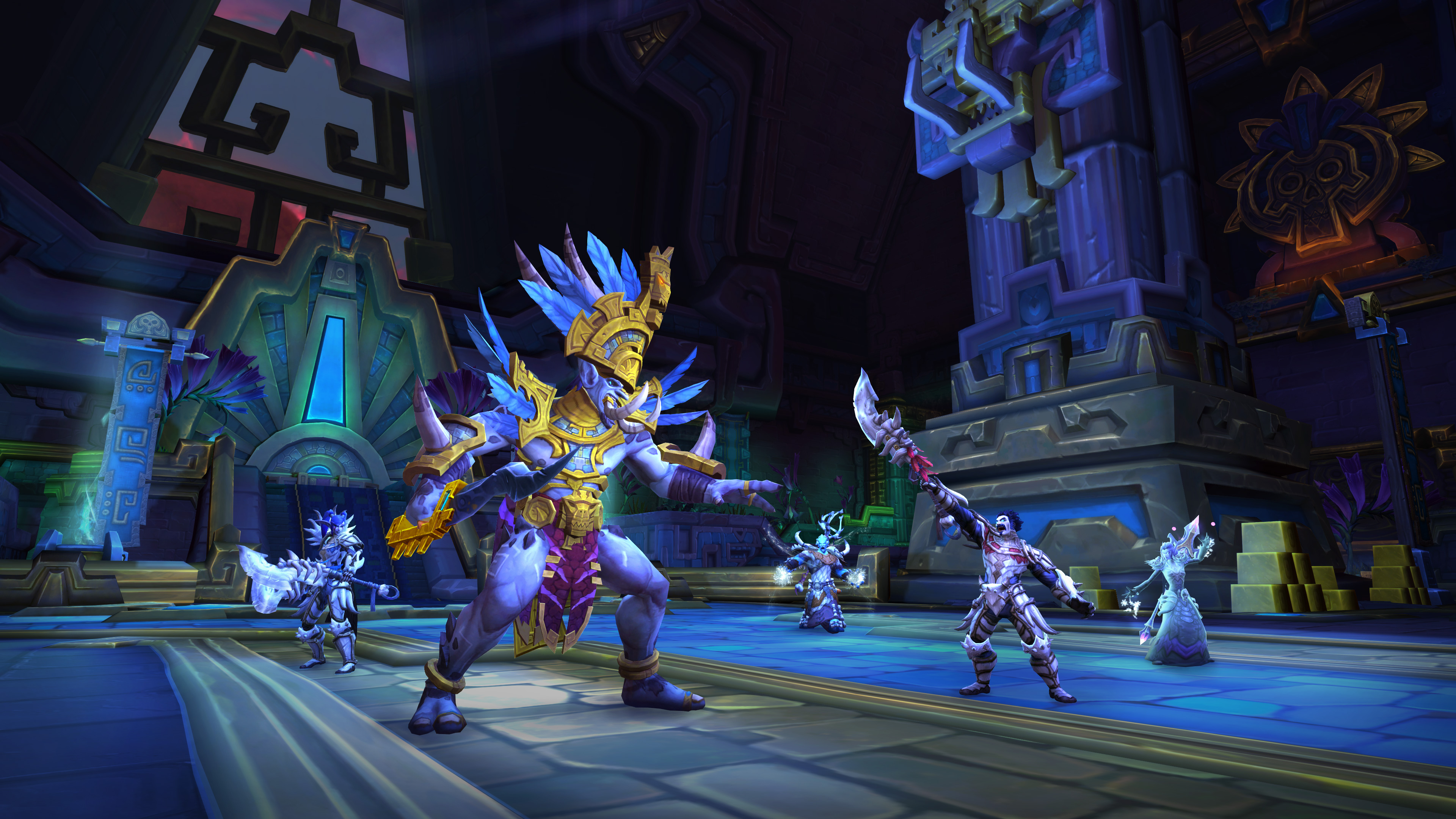 World of Warcraft - A group of raiders attack King Rhastakhan in the Battle for Dazar'Alor