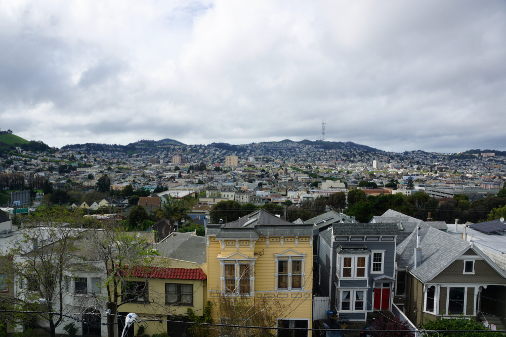 Houses lined up in front of the SF skyline.