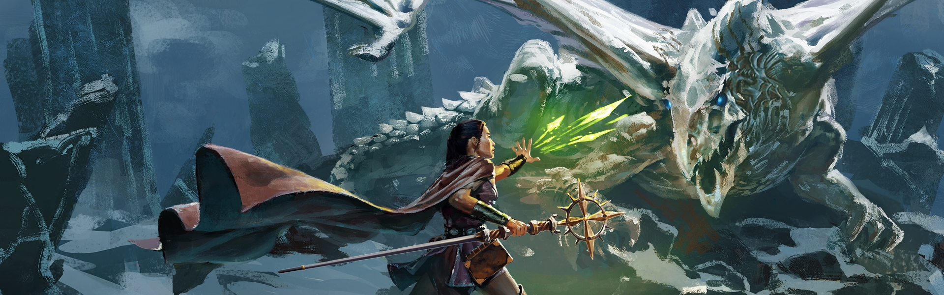 A close up of the cover art for the Dungeons & Dragons Essentials Kit shows a player-character and their sidekick going up against a dragon on a snowy hilltop.