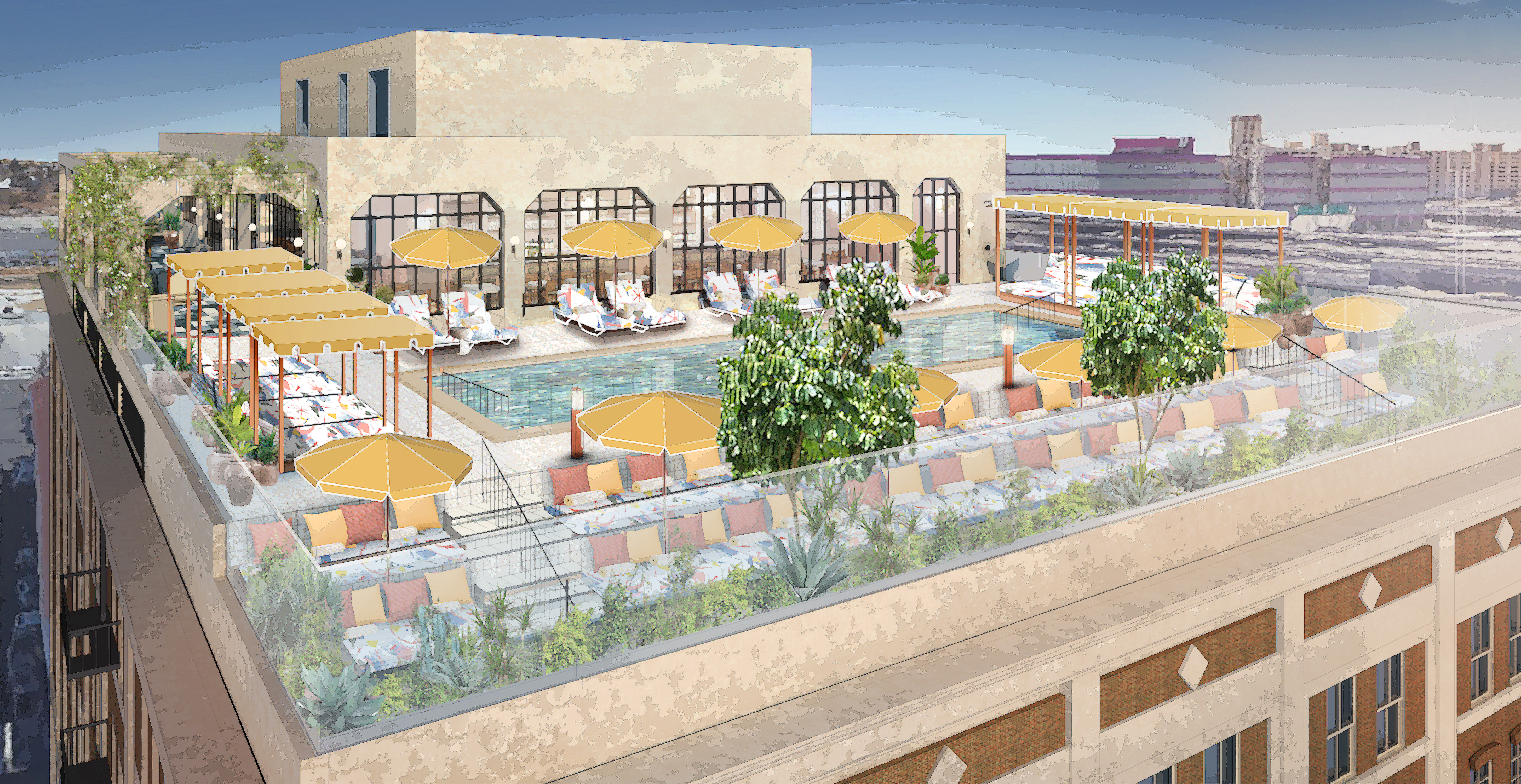 A rendering of the warehouse's rooftop with a rectangular pool surrounded by lounge chairs and umbrellas. Behind the pool is an enclosed area for lounging, eating, and events.