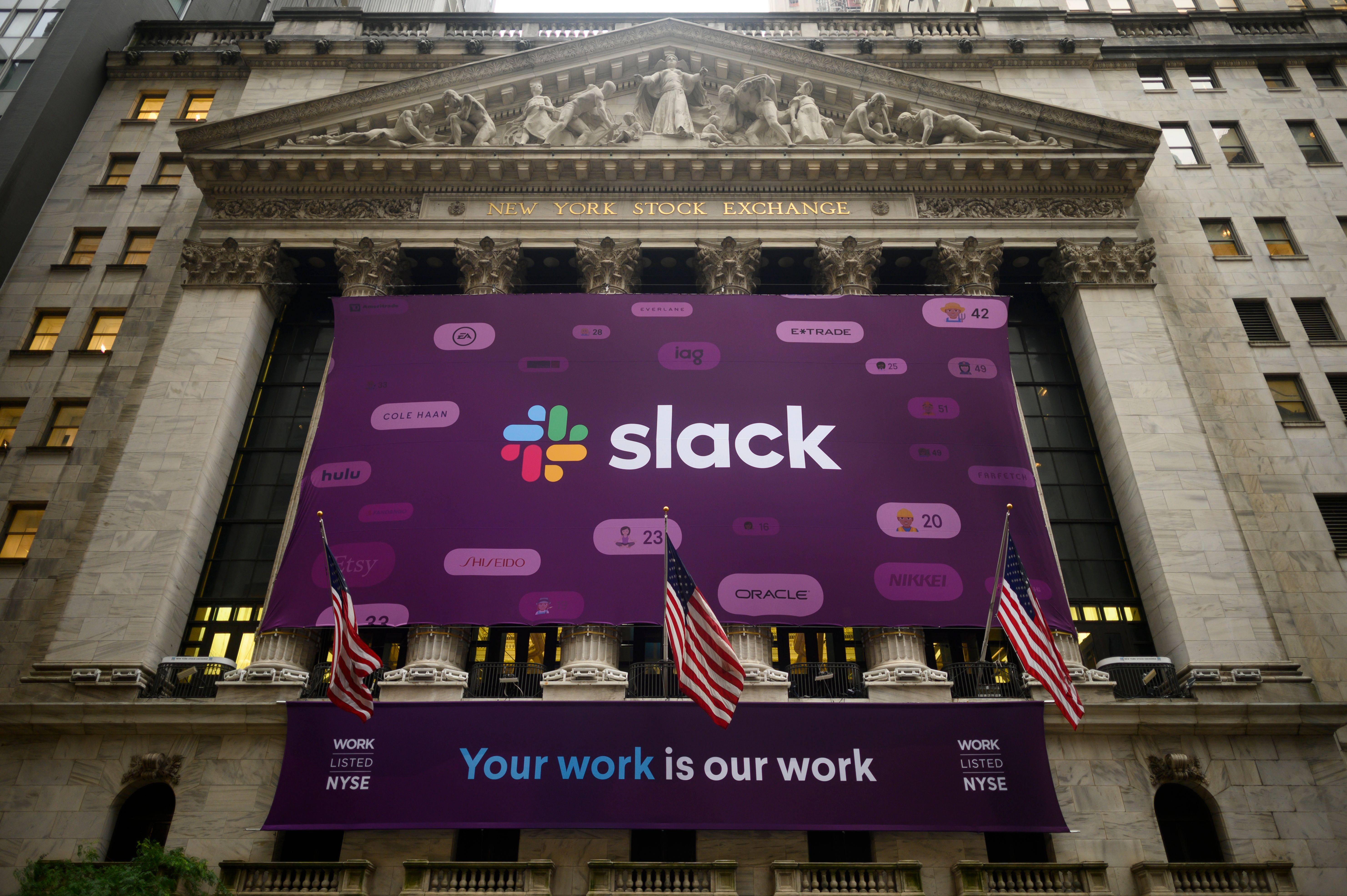 Slack banner hanging outside the New York Stock Exchange building.