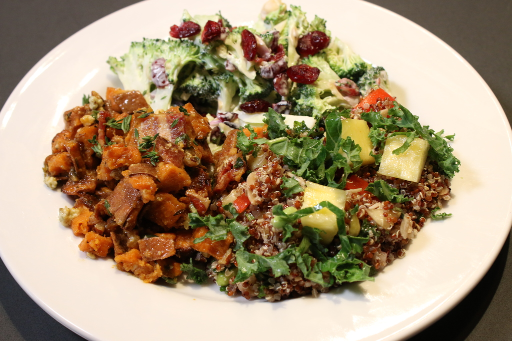 Three of the Market Sides served at Blackberry Market. The honey mustard sweet potato salad (left), California quinoa (right), and broccoli slaw (top).