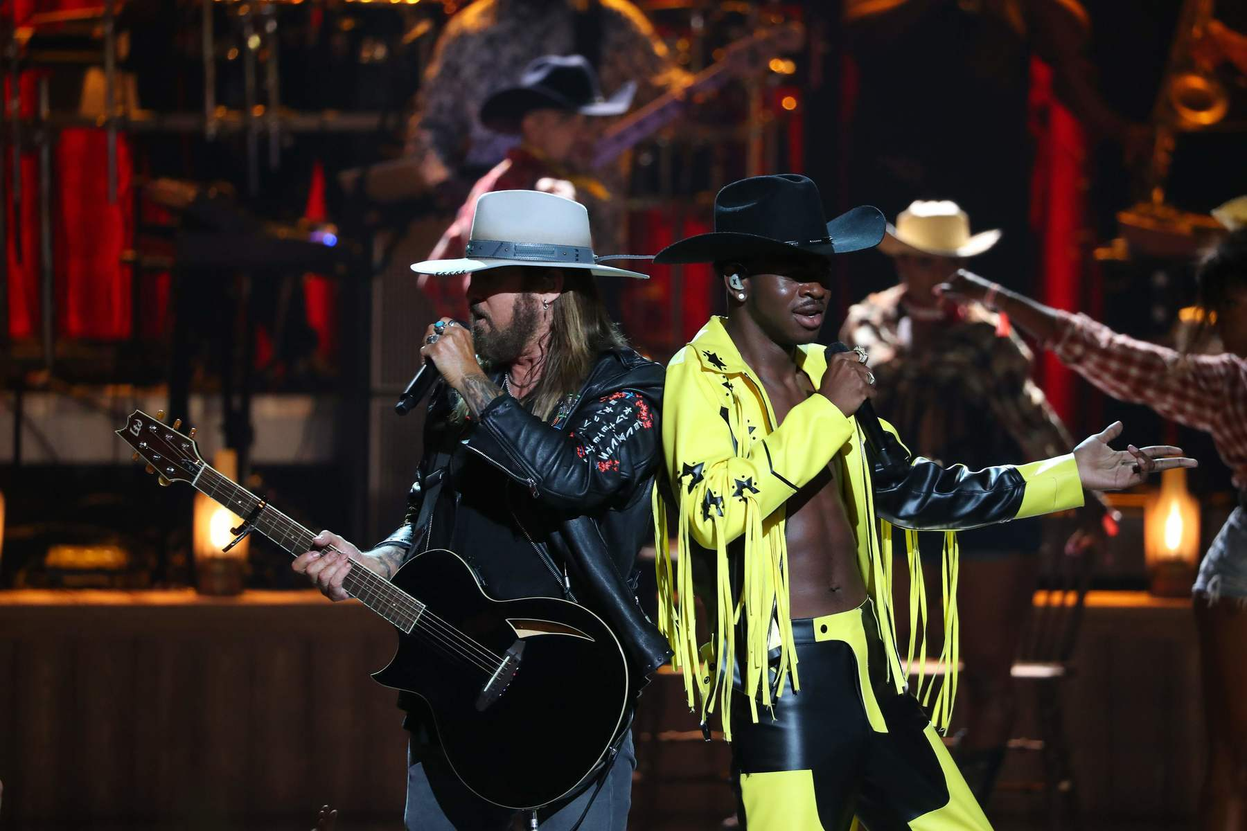 Lil Nas X (right) and Billy Ray Cyrus performing last month at the 2019 BET awards in Los Angeles.