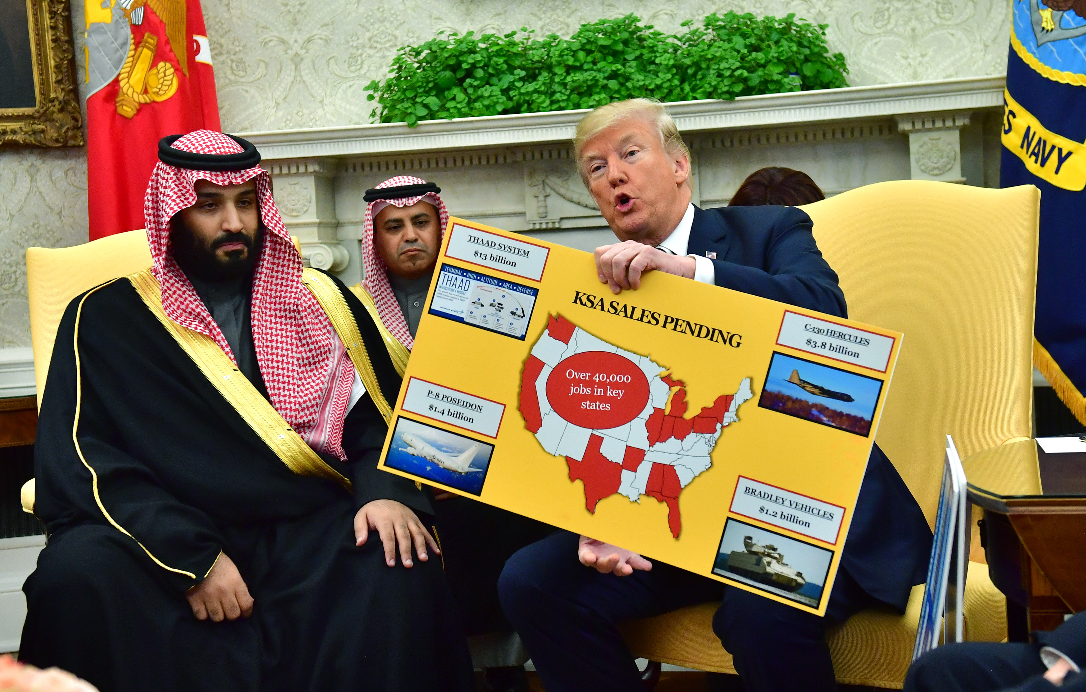 President Donald Trump holds up a chart of military hardware sales as he meets with Crown Prince Mohammed bin Salman of the Kingdom of Saudi Arabia at the White House on March 20, 2018 in Washington, DC.