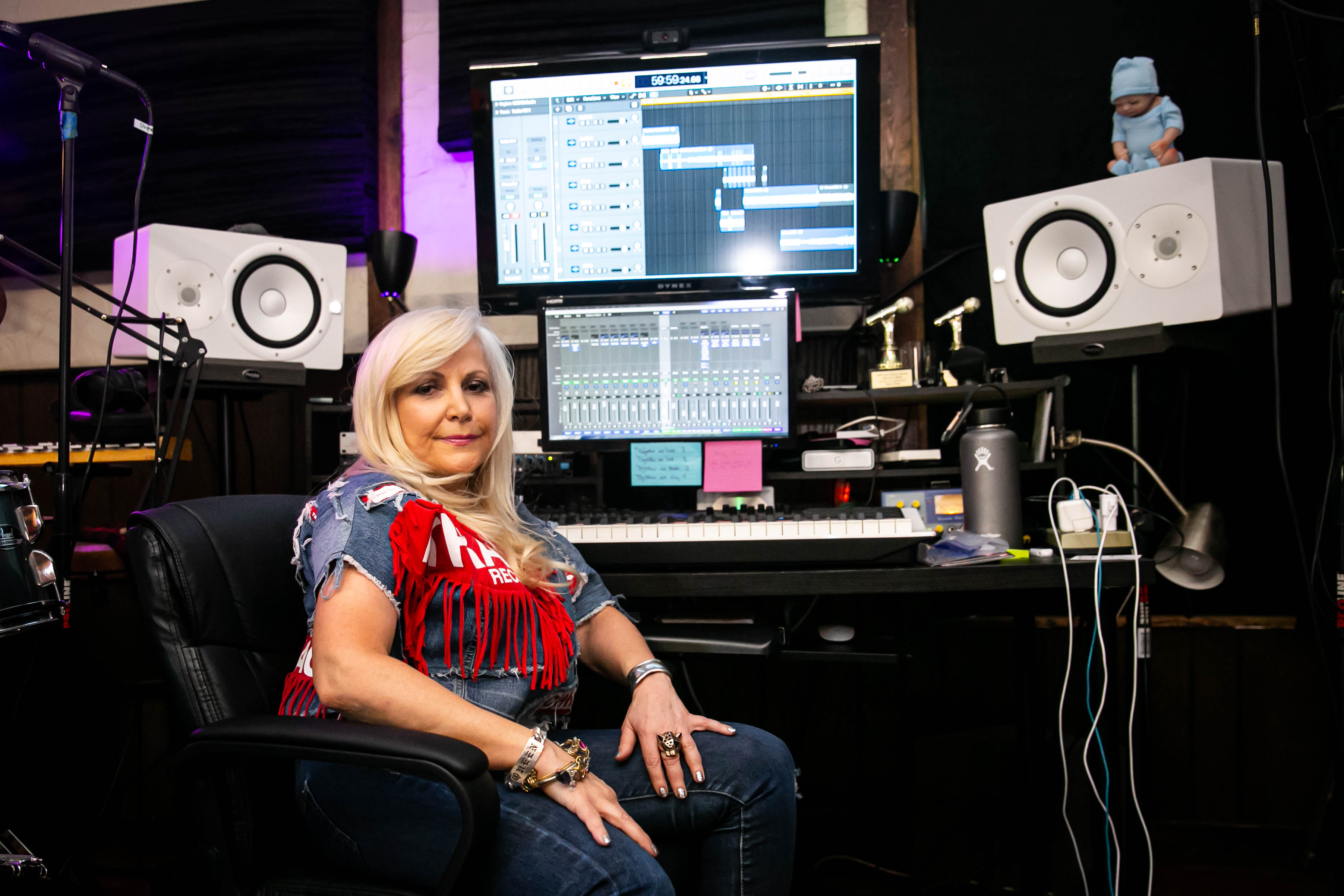 Rachael Cain poses for a portrait in the Trax recording studio on July 3, 2019. | Megan Nagorzanski/Sun-Times