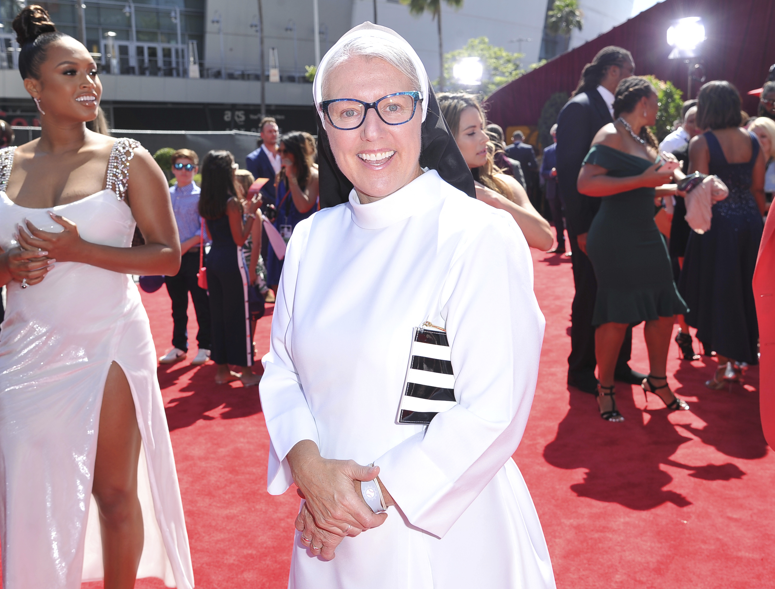 Sister Mary Jo Sobieck arrives at the ESPY Awards on Wednesday, July 10, 2019, at the Microsoft Theater in Los Angeles.