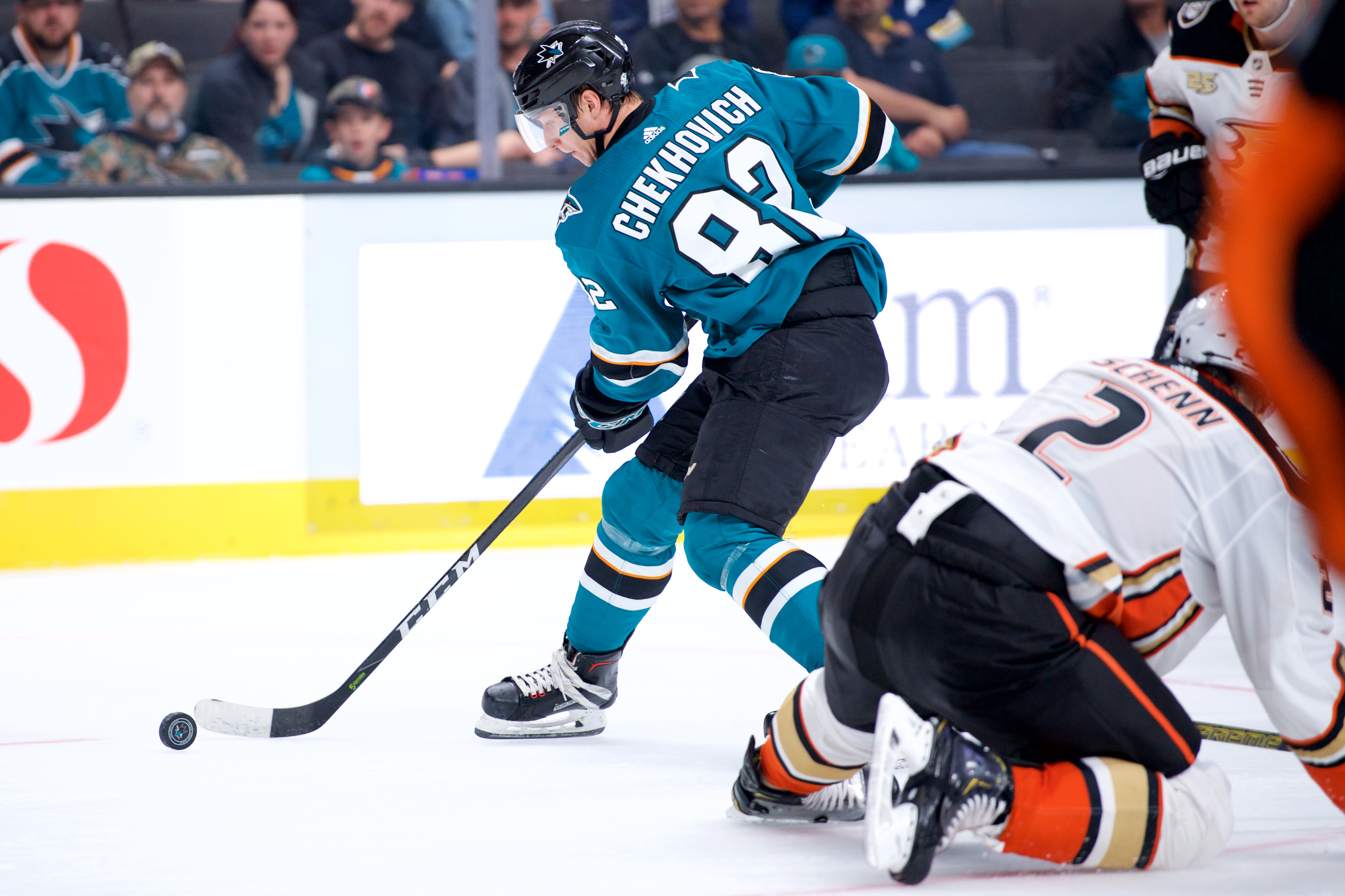 San Jose Sharks left wing Ivan Chekhovich (82) skates by a defender during the San Jose Sharks game versus the Anaheim Ducks on September 18, 2018, at SAP Center at San Jose in San Jose, CA.