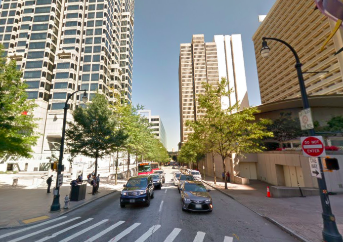 Where Baker Street traffic meets Peachtree Street downtown.