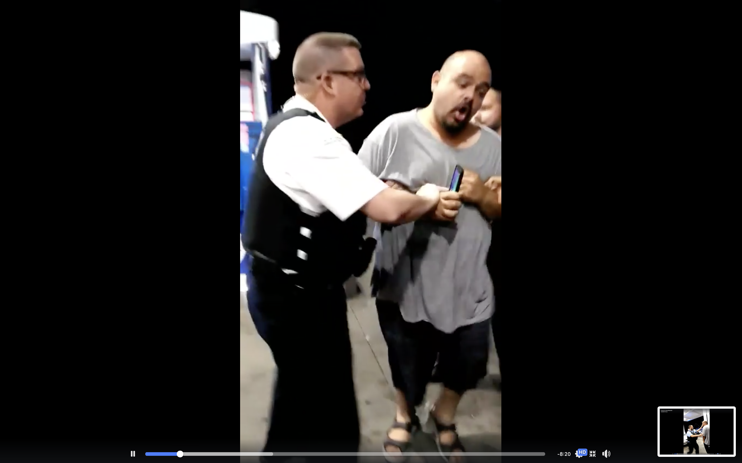 A video screengrab shows a Chicago police officer and Angel Ramirez at a gas station in Little Village. Ramirez was sprayed with pepper spray and twice tased by police.