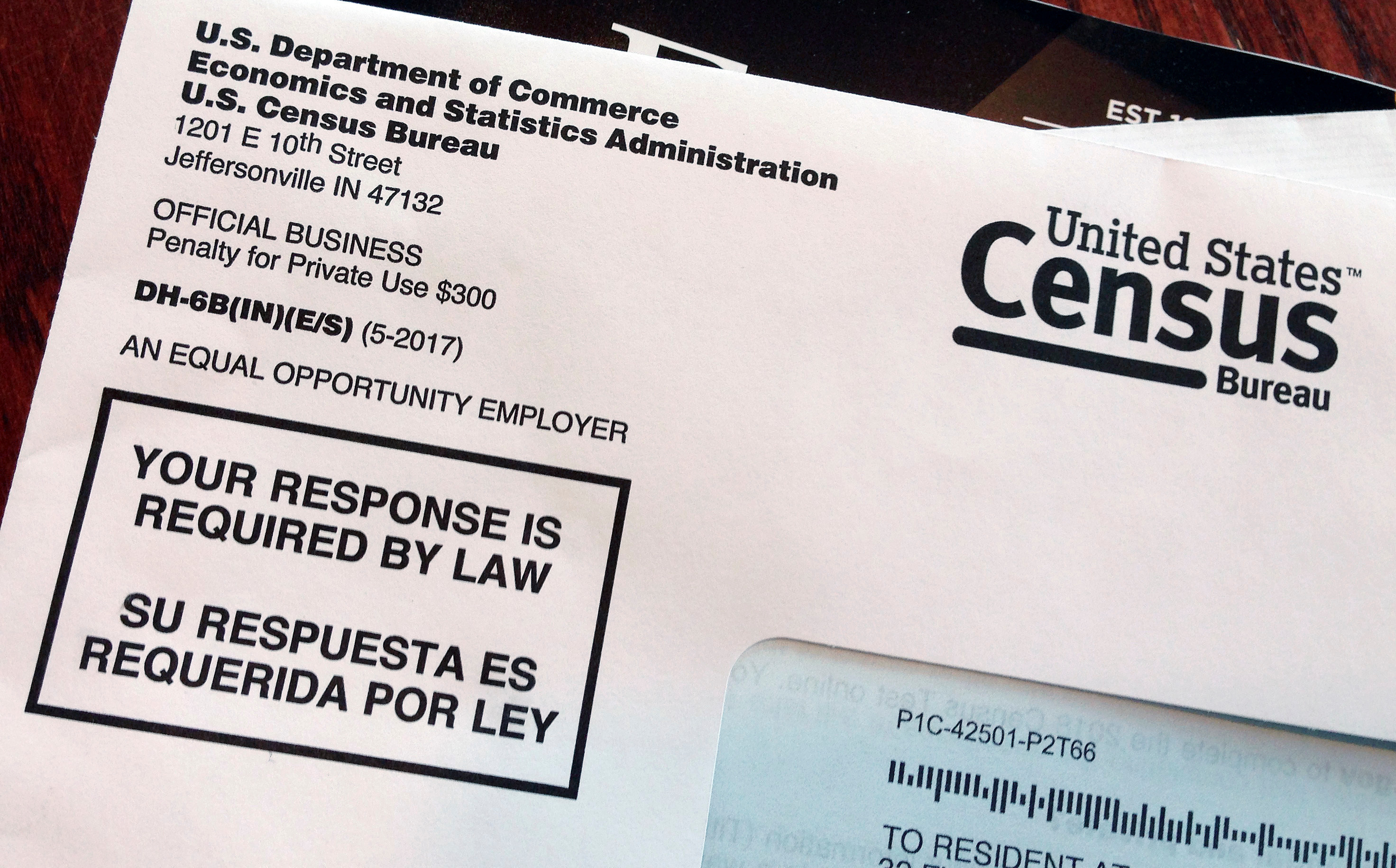 This March 23, 2018, file photo shows an envelope containing a 2018 census letter mailed to a U.S. resident.