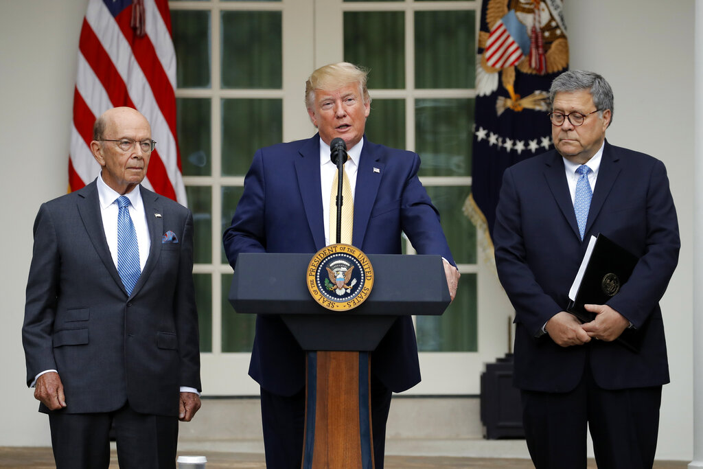 President Donald Trump, Commerce Secretary Wilbur Ross and Attorney General William Barr in the White House Rose Garden