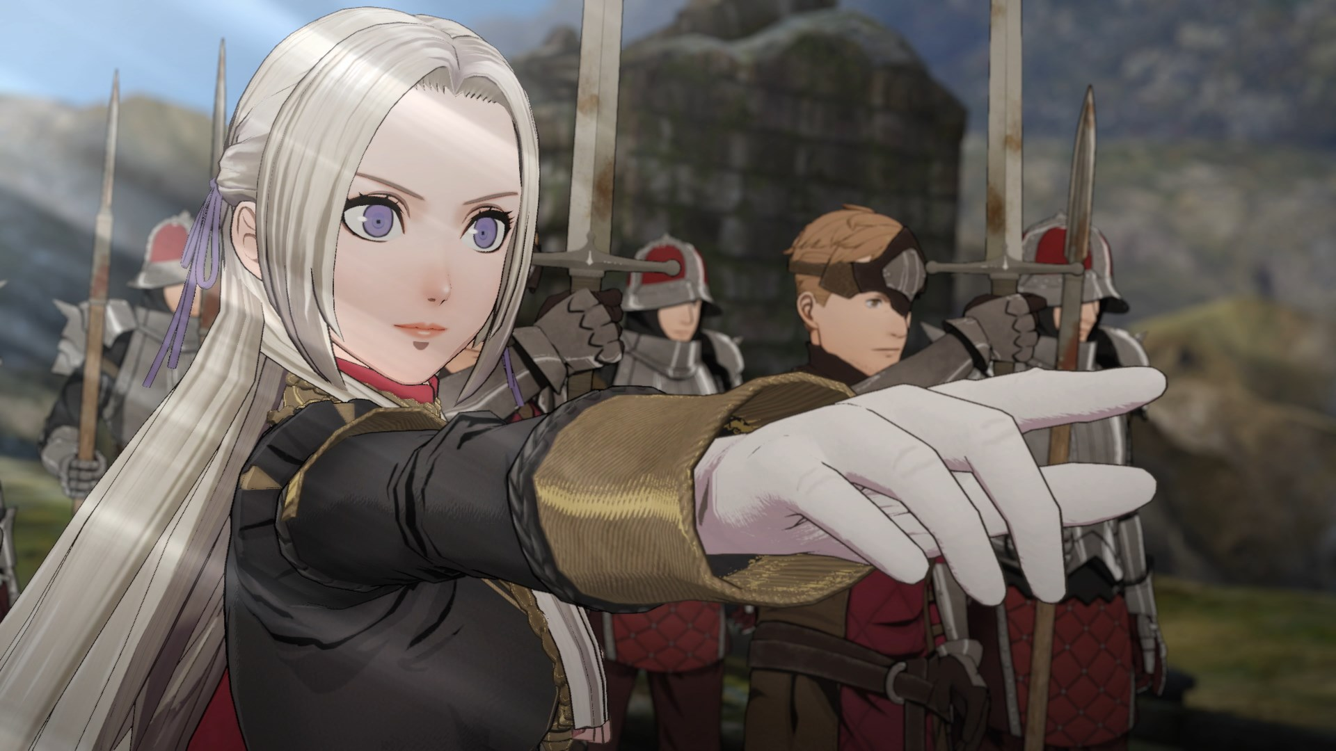 Eldegard pointing in Fire Emblem: Three Houses