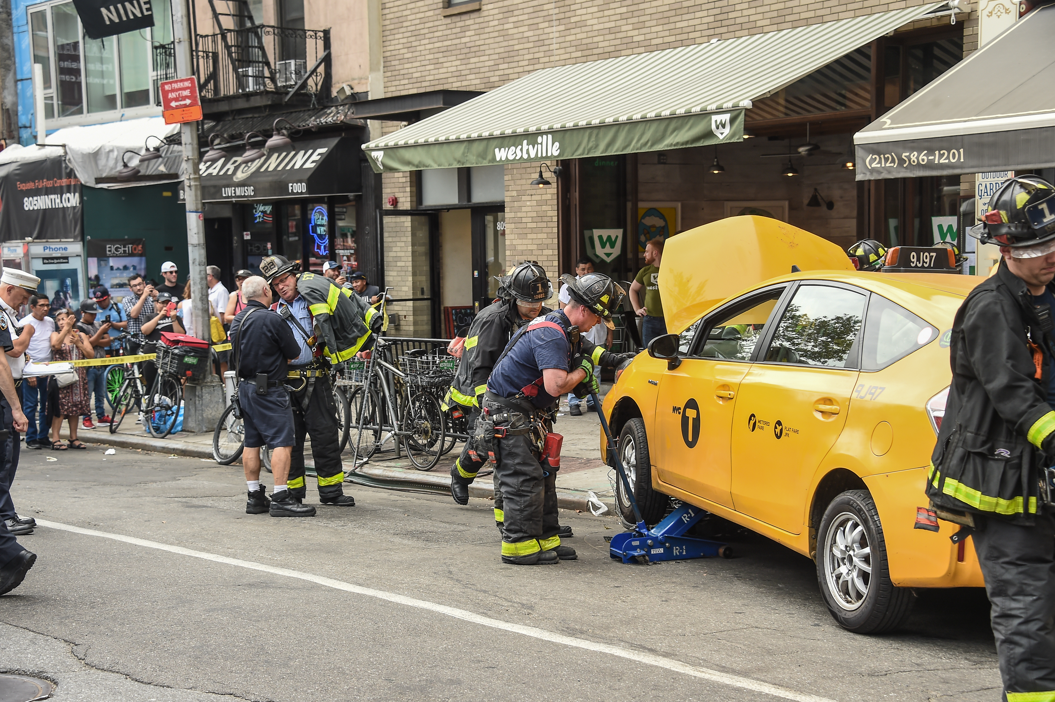 Taxi Crashes Into Restaurant In Hell's Kitchen Neighborhood Of Manhattan
