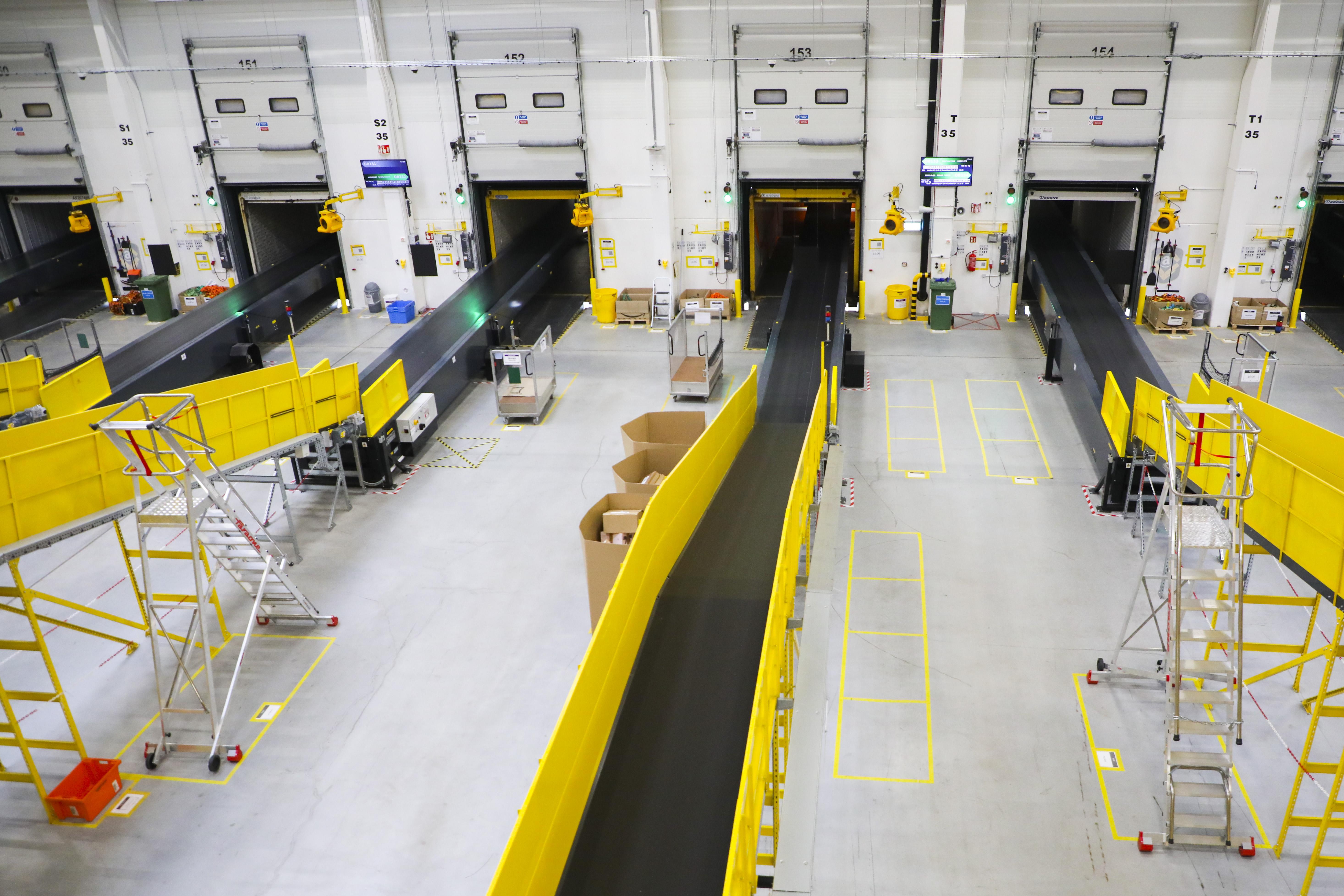 Inside an Amazon fulfillment center.