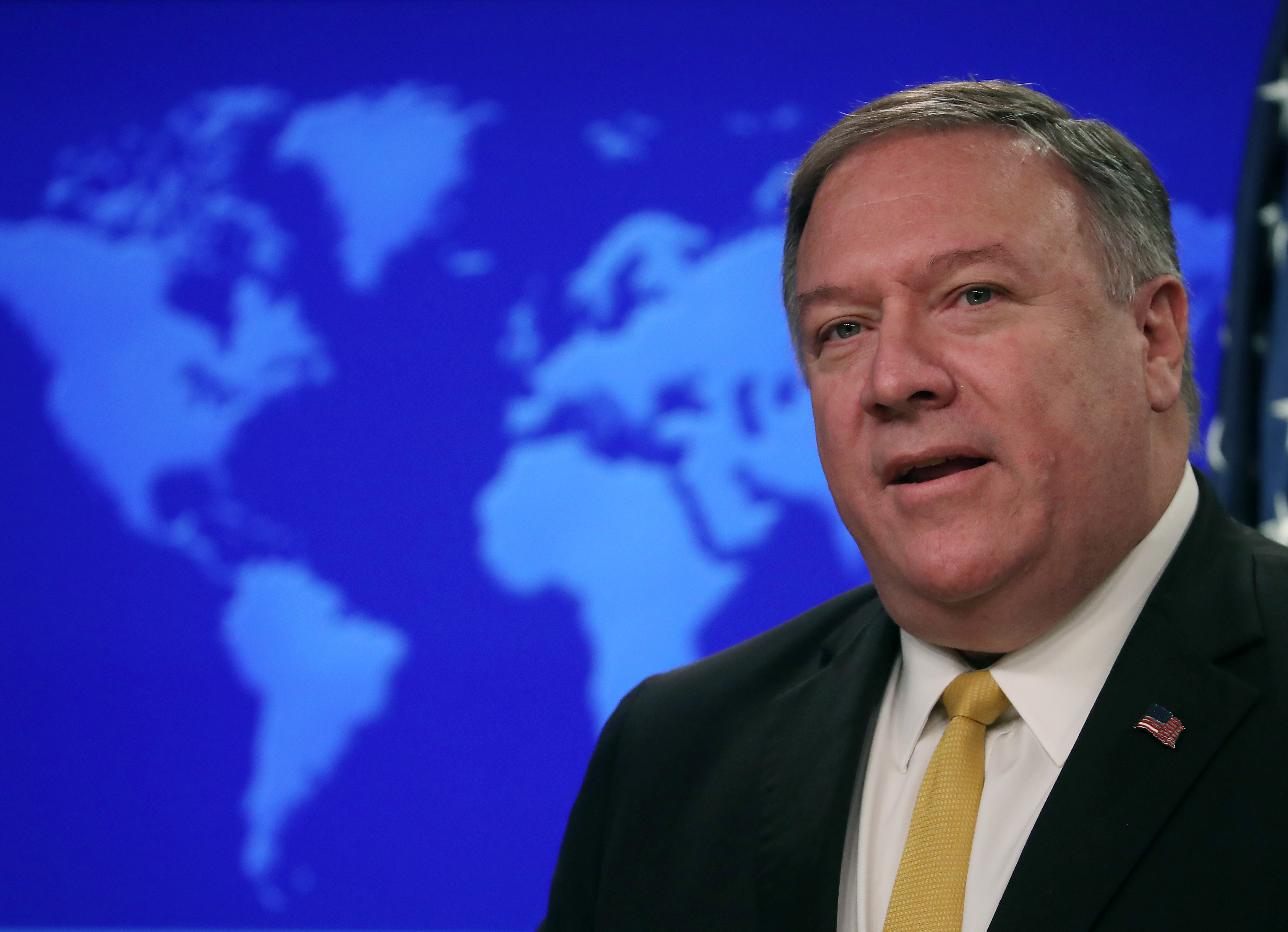 Secretary Of State Mike Pompeo Speaks To The Media At The State Department