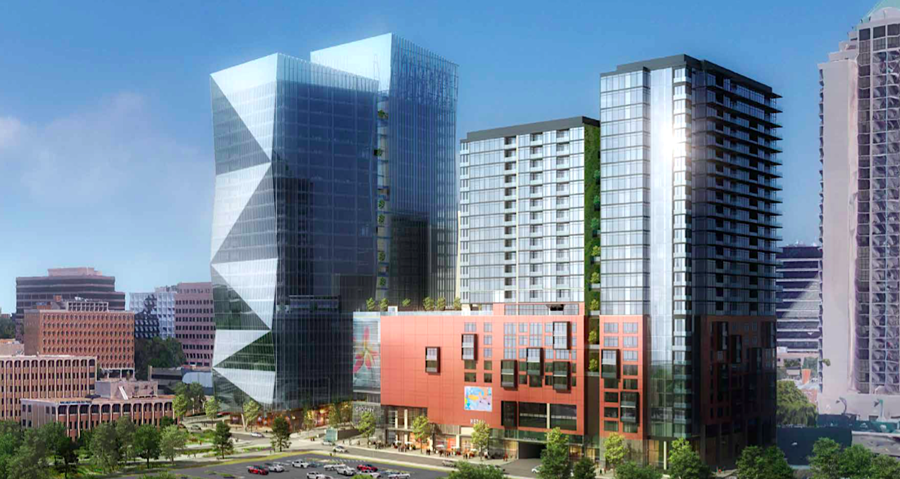 The latest rendering for Midtown Union's multifaceted first phase, with glassy office towers at left and residential/hotel pieces at right.