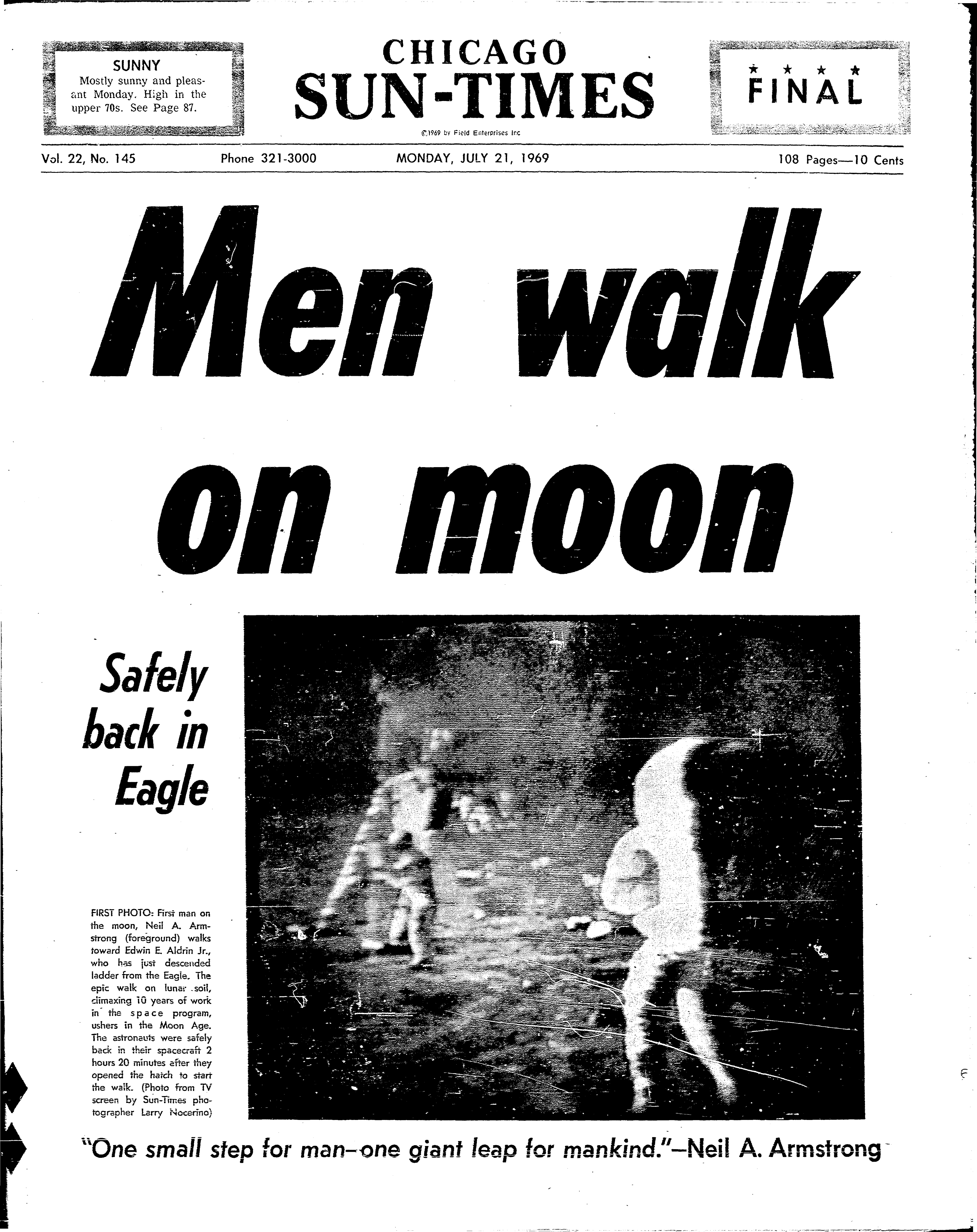 The Sun-Times' front page on the historic first moonwalk 50 years ago.