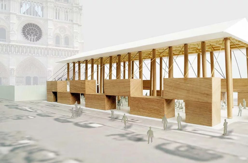 Shigeru Ban proposes simple temporary chapel for Notre Dame site