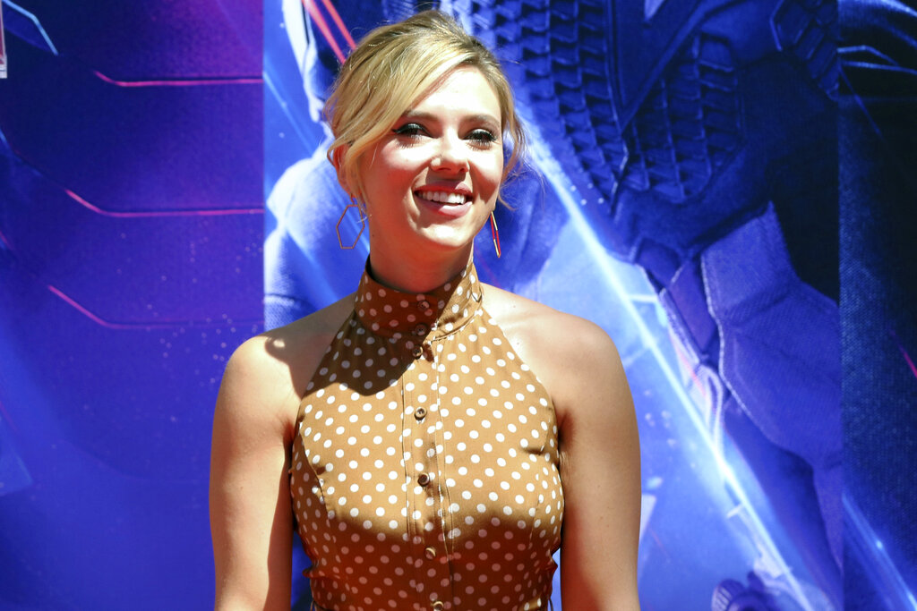 Scarlett Johansson at a hand and footprint ceremony at the TCL Chinese Theatre, in Los Angeles
