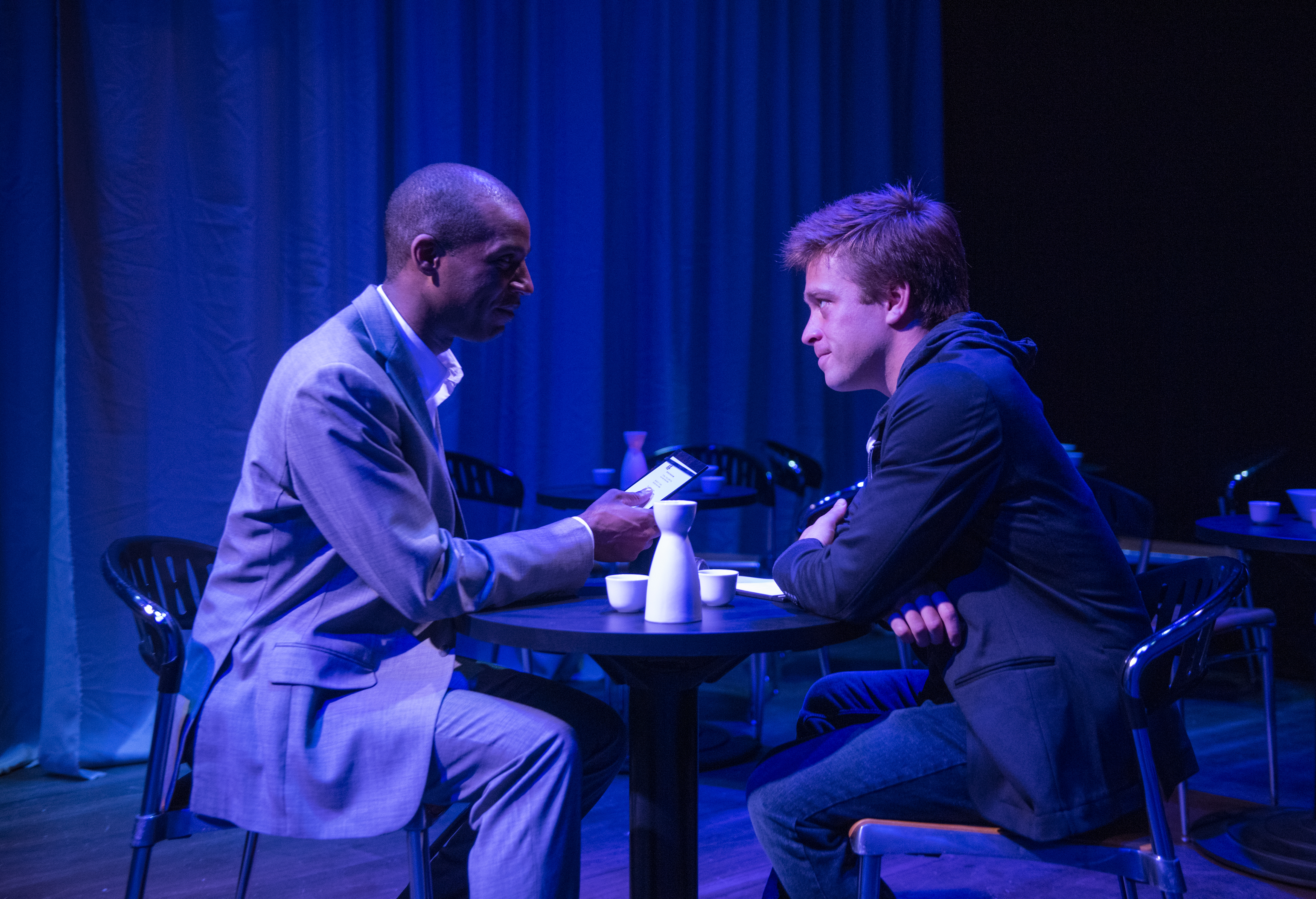"""Michael Aaron Pogue and Julian Hester star in """"The Recommendation"""" at Windy City Playhouse."""