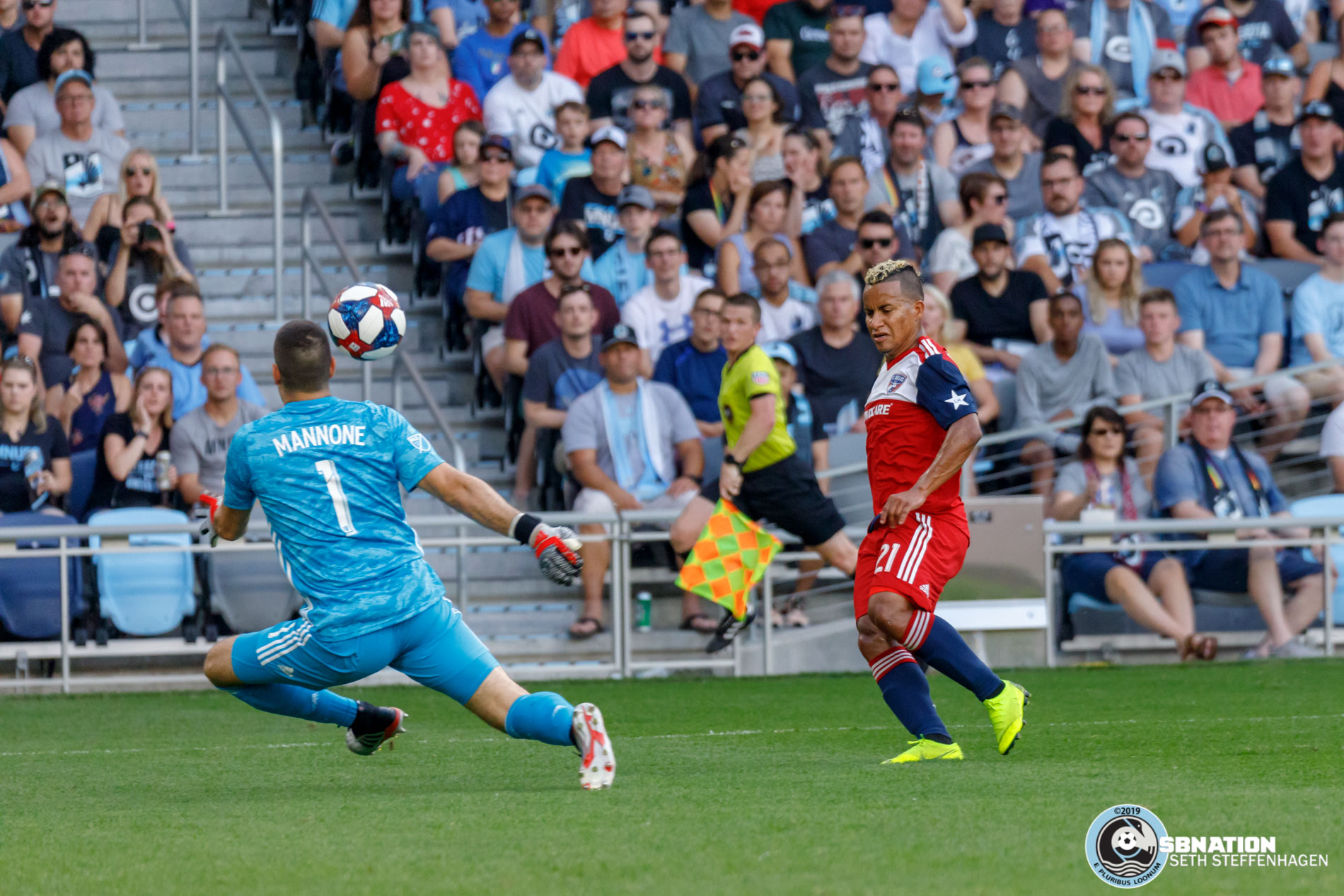 July 13, 2019 - Saint Paul, Minnesota, United States - FC Dallas midfielder Michael Barrios (21) shoots the ball over Minnesota United goalkeeper Vito Mannone (1) during the match at Allianz Field.