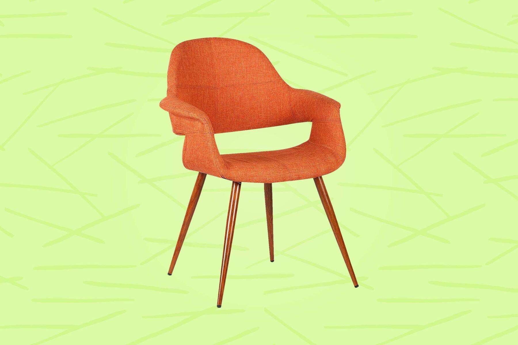 orange upholstered dining chair