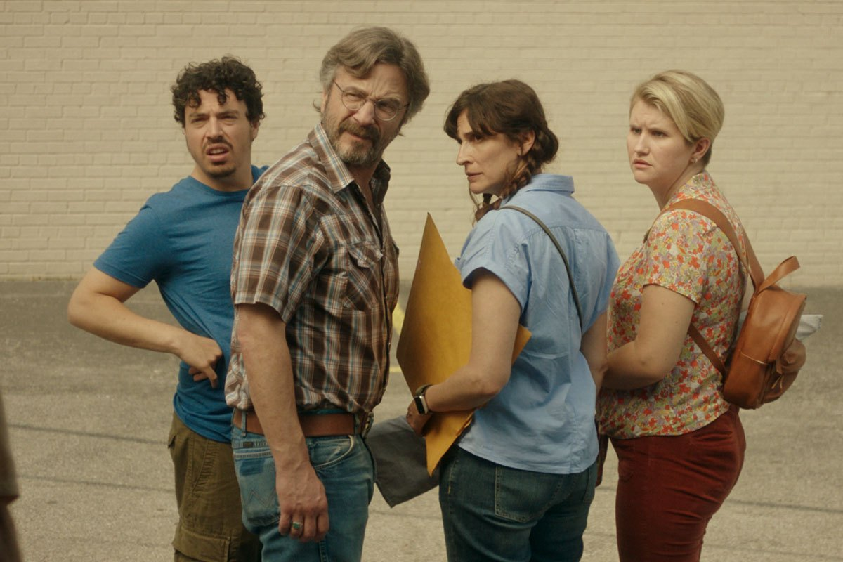 Jon Bass, Marc Maron, Michaela Watkins, and Jillian Bell in Sword of Trust.