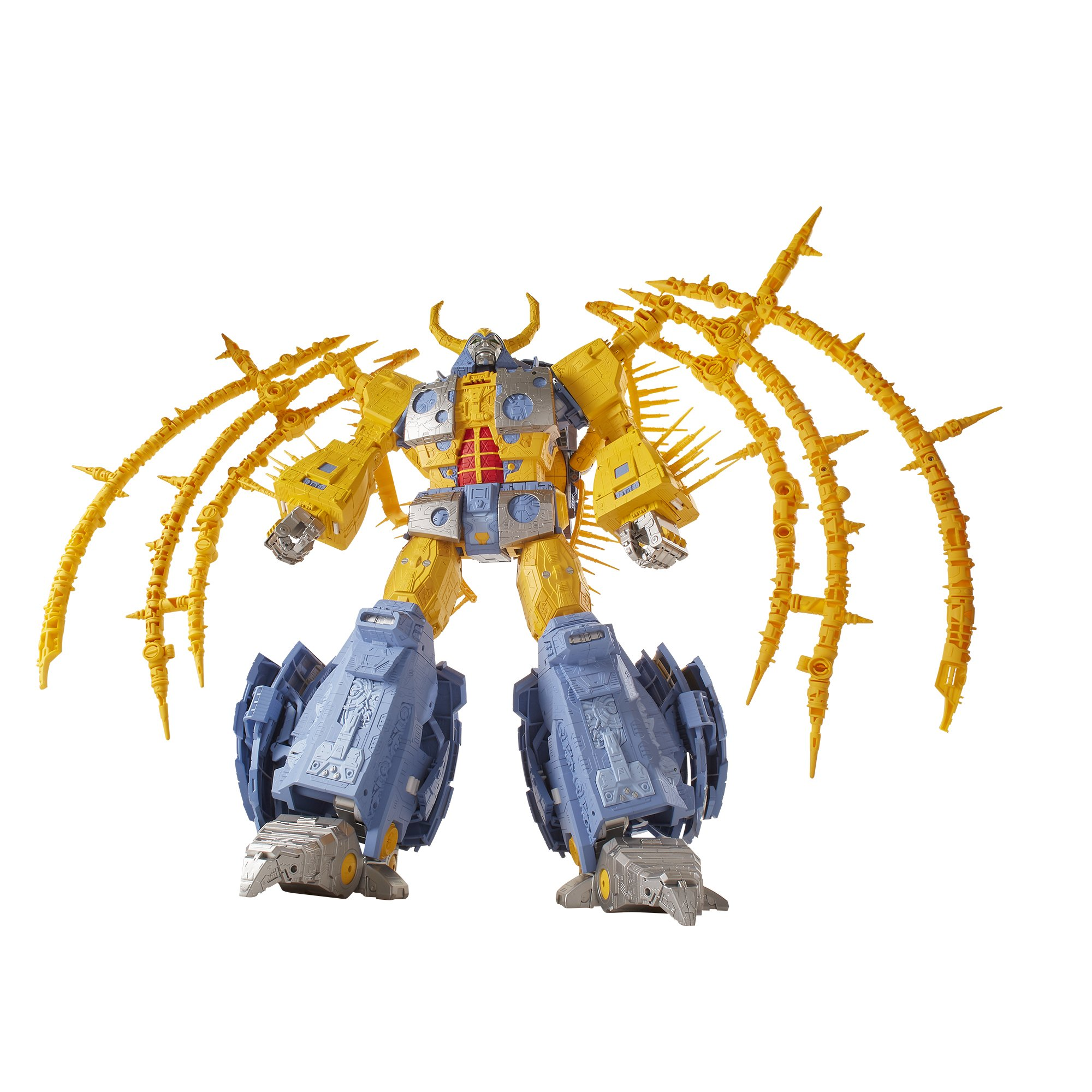 Hasbro's Unicron, the planet-eating robot from the Transformers movie in the 1980s. It hopes to bring the 27-inch tall yellow toy to life, but only if 8.000 people pay them $575 first.