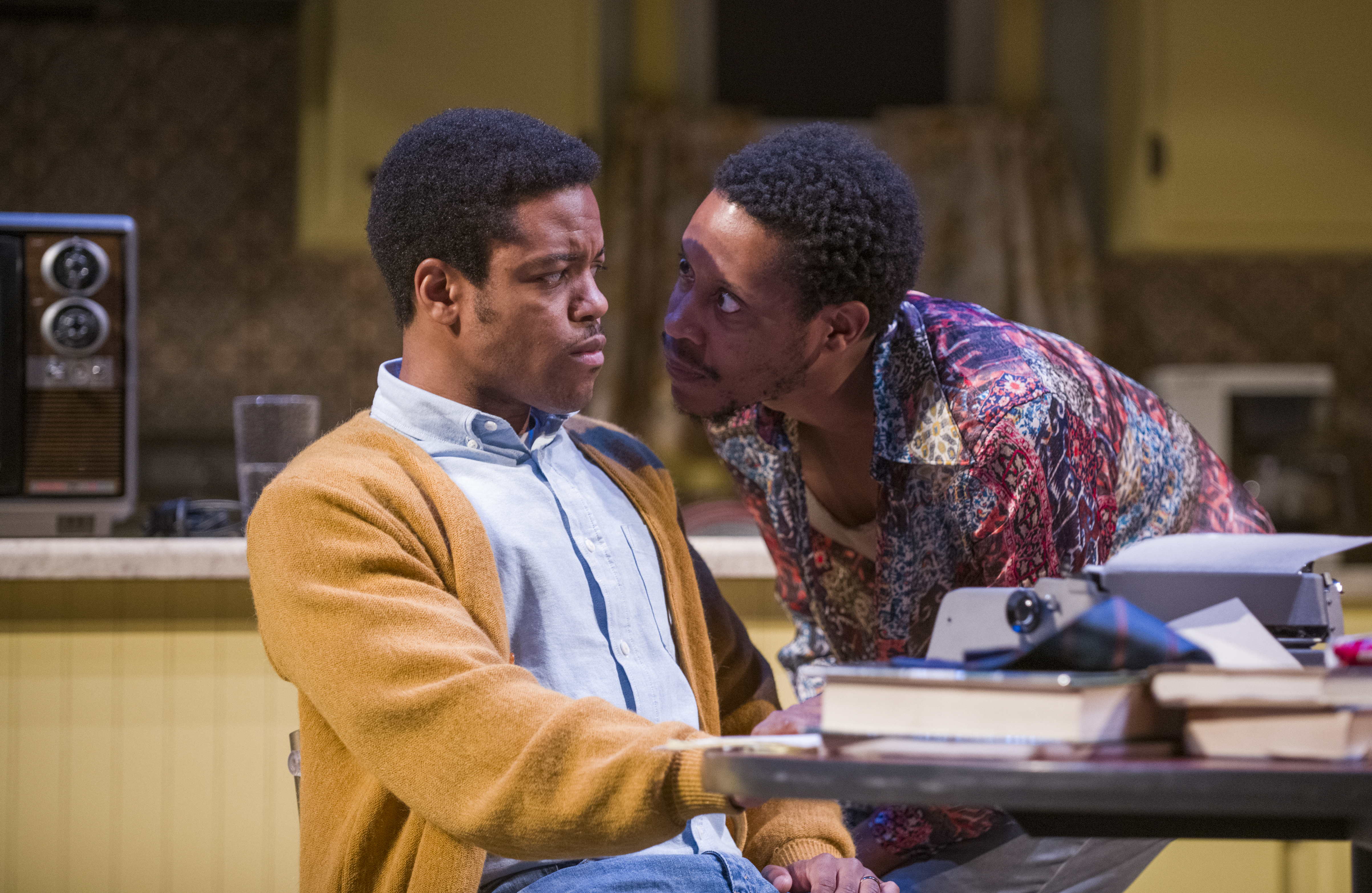 """Ensemble members Jon Michael Hill (as Austin, left) and Namir Smallwood (as Lee) in a scene from Steppenwolf Theatre's production of """"True West."""""""