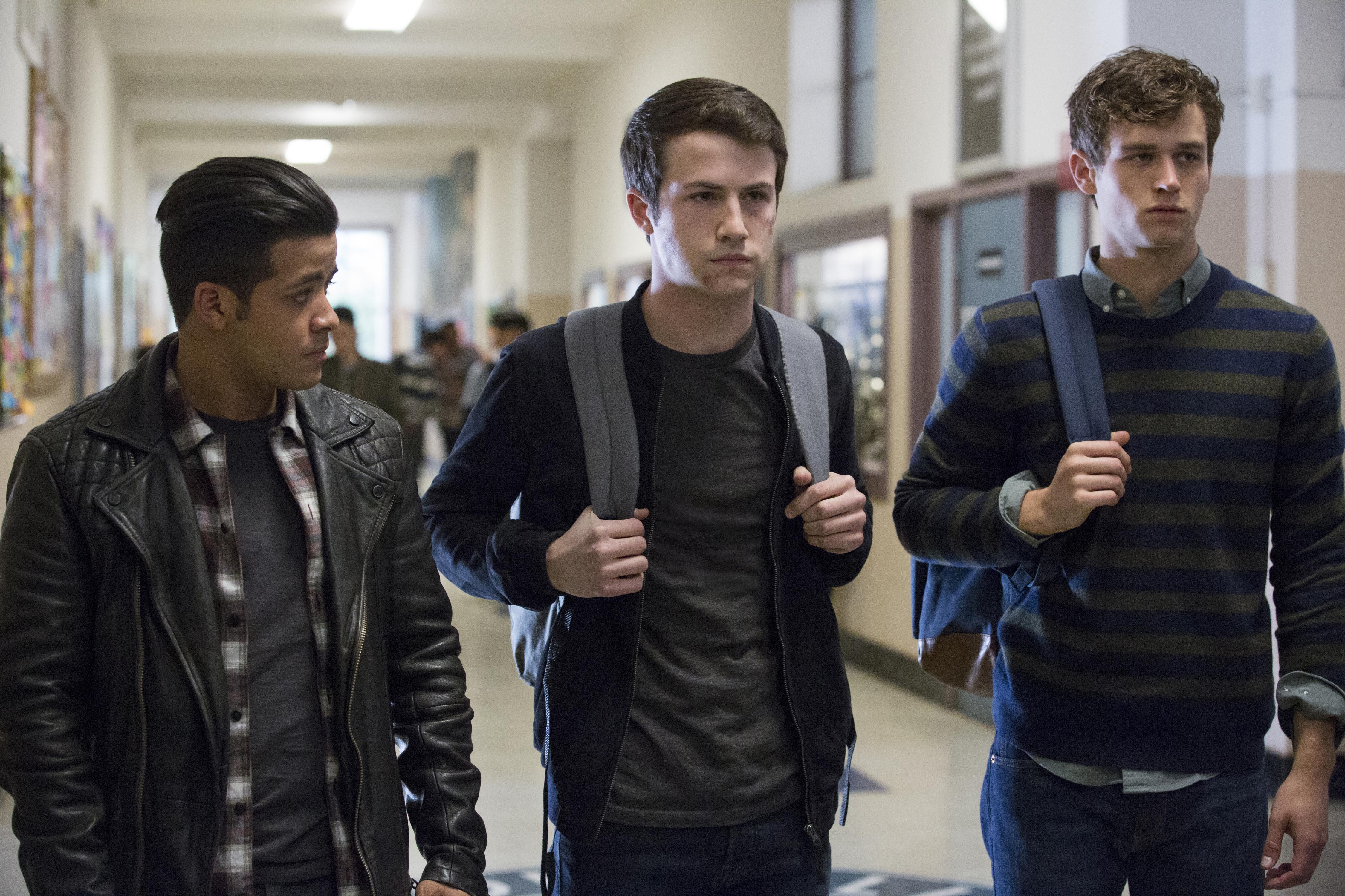 "Christian Navarro (from left), Dylan Minnette and Brandon Flynn in ""13 Reasons Why."""