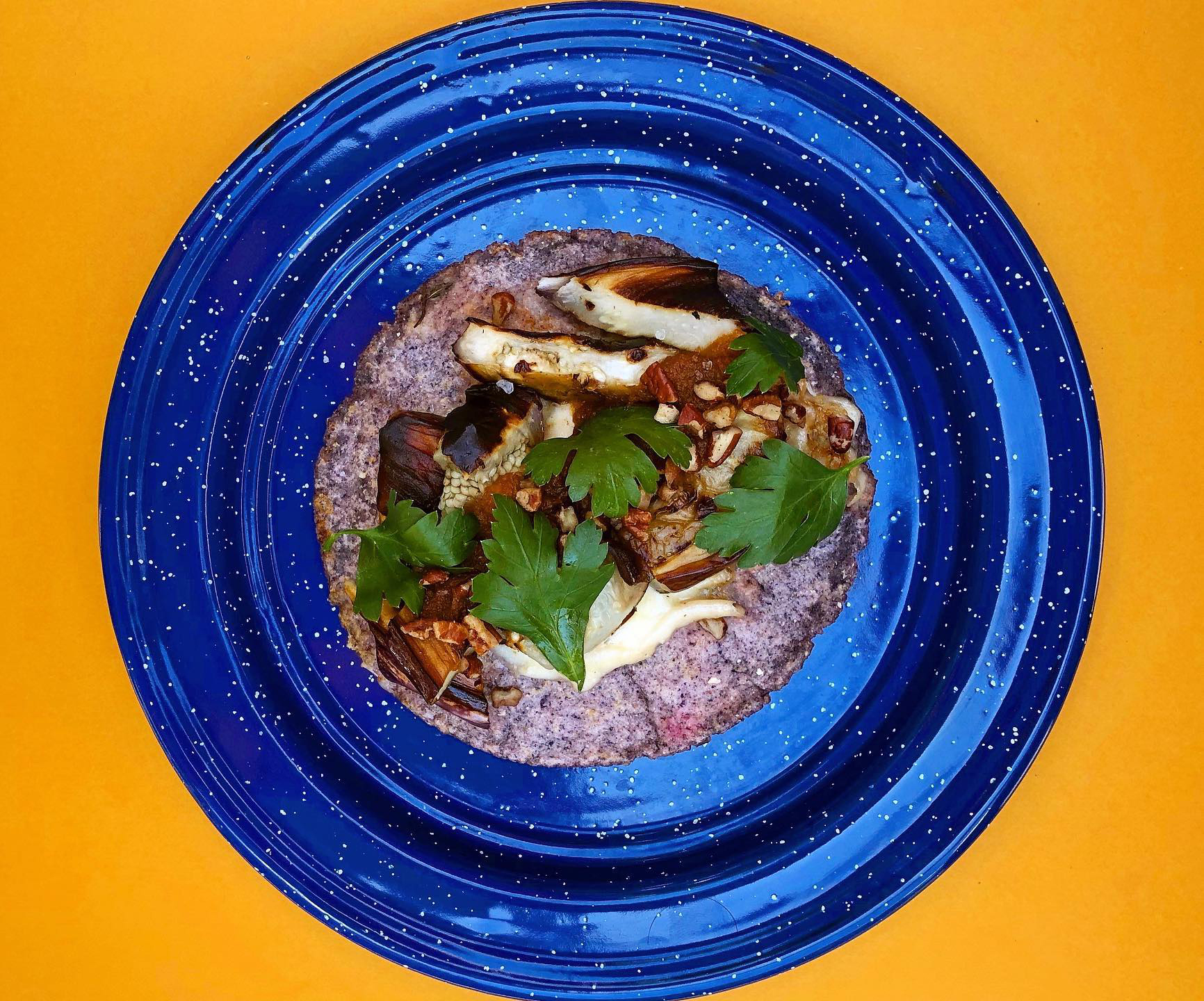The eggplant taco from Nixta Taqueria