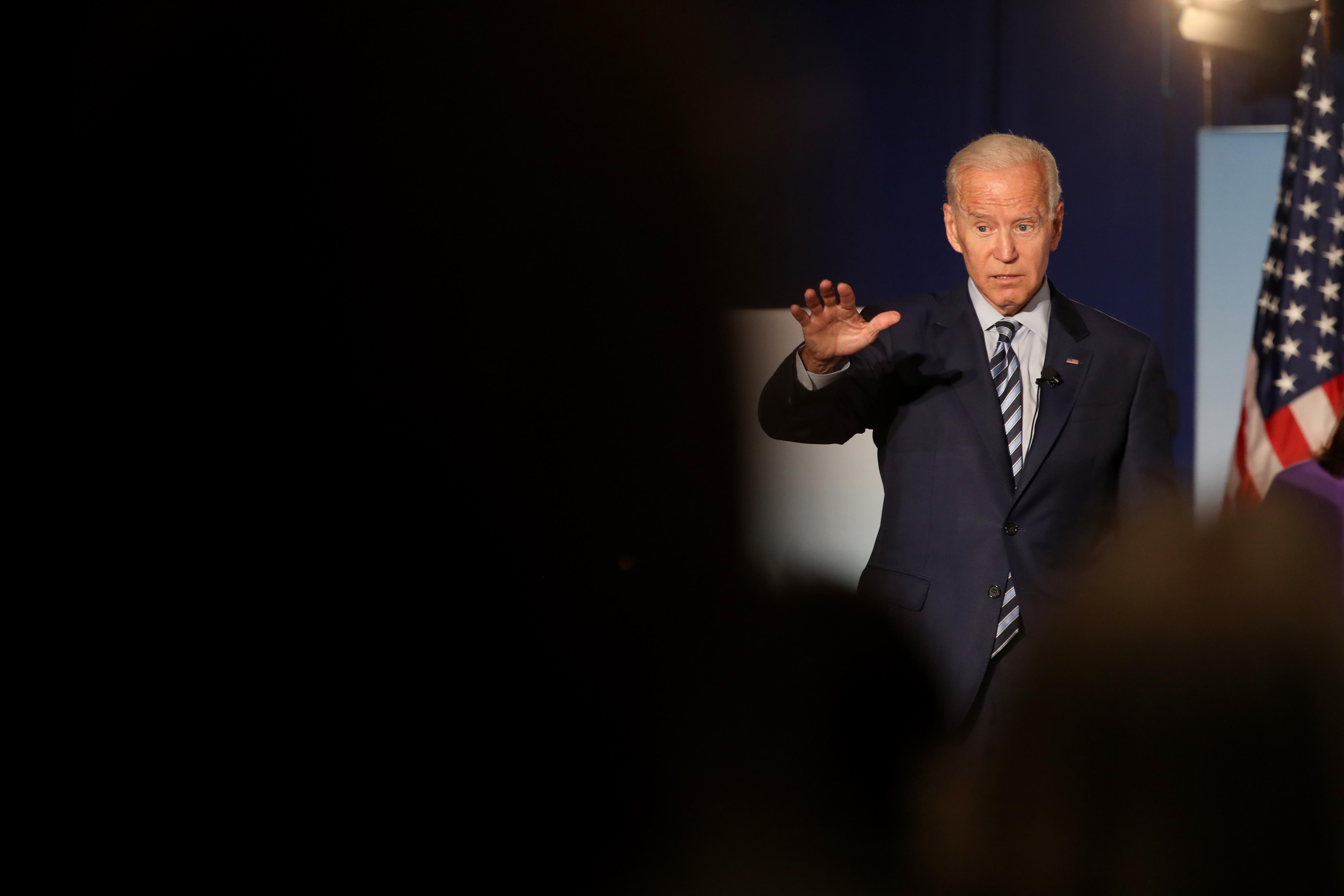Democratic presidential candidate Joe Biden onstage.