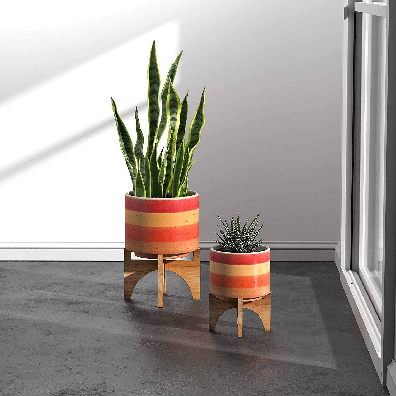 bright orange and red striped planter