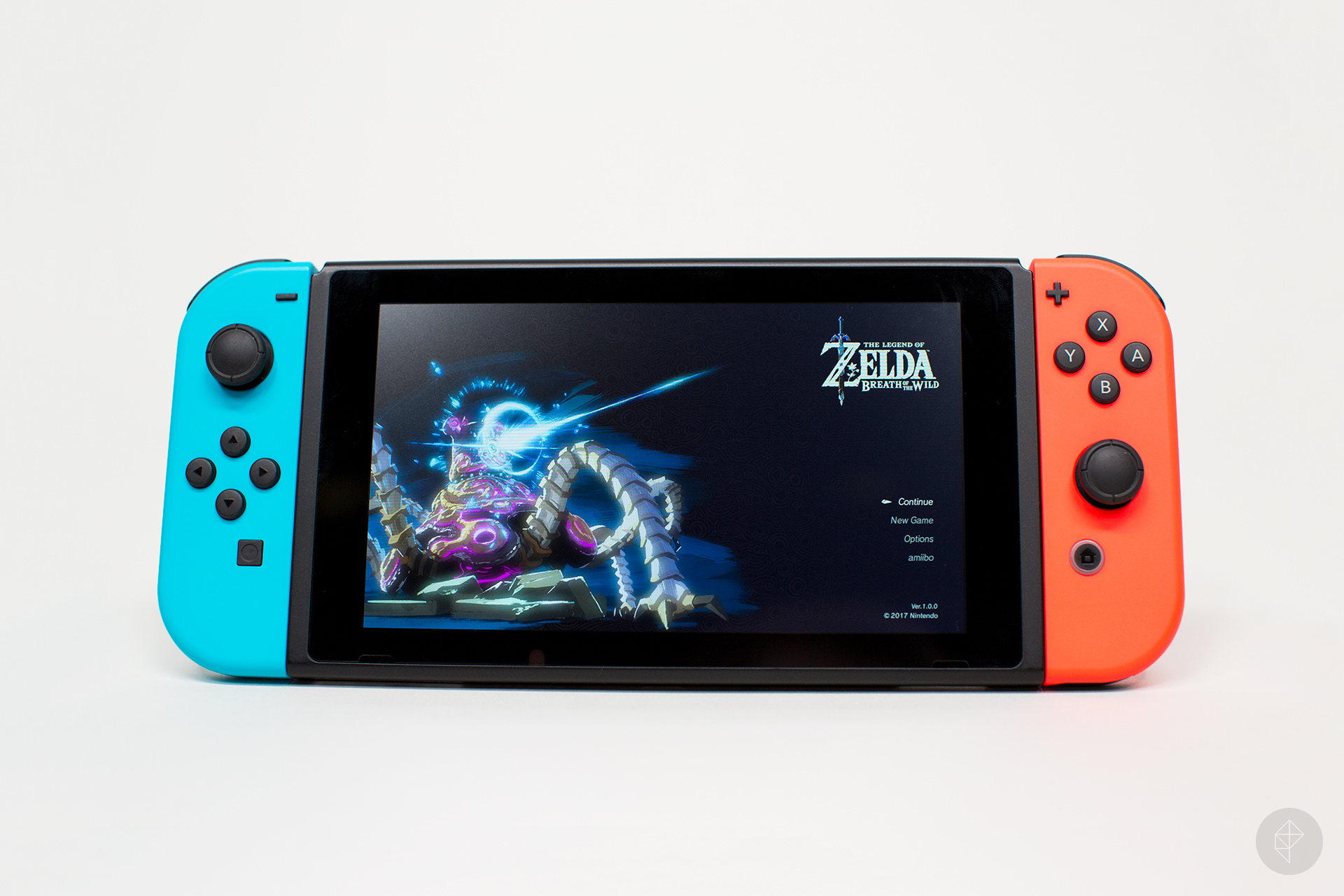 Nintendo Switch handheld with Zelda main menu
