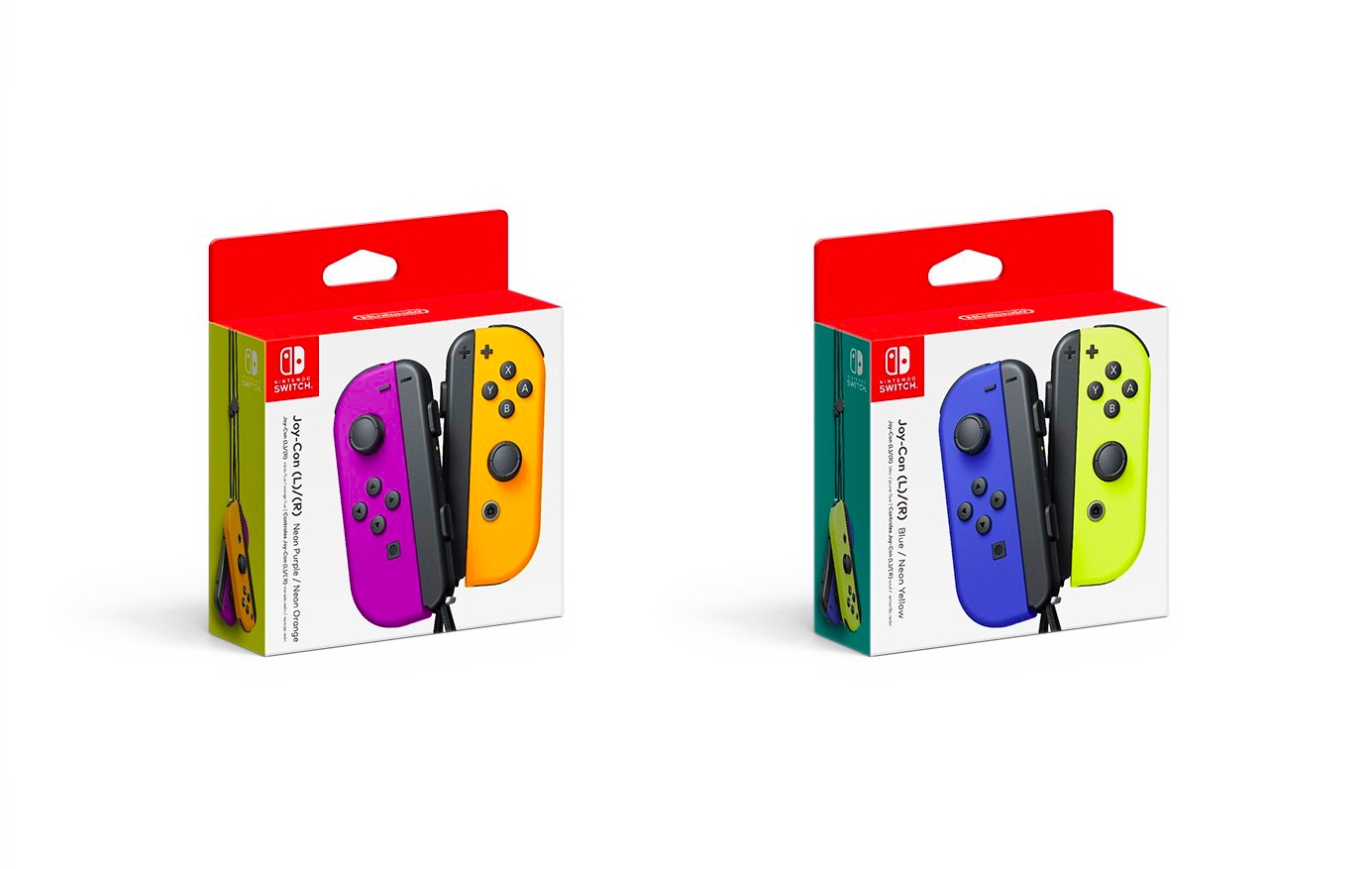 Packaging artwork for the new blue/neon yellow and neon purple/neon orange Joy-Con controllers