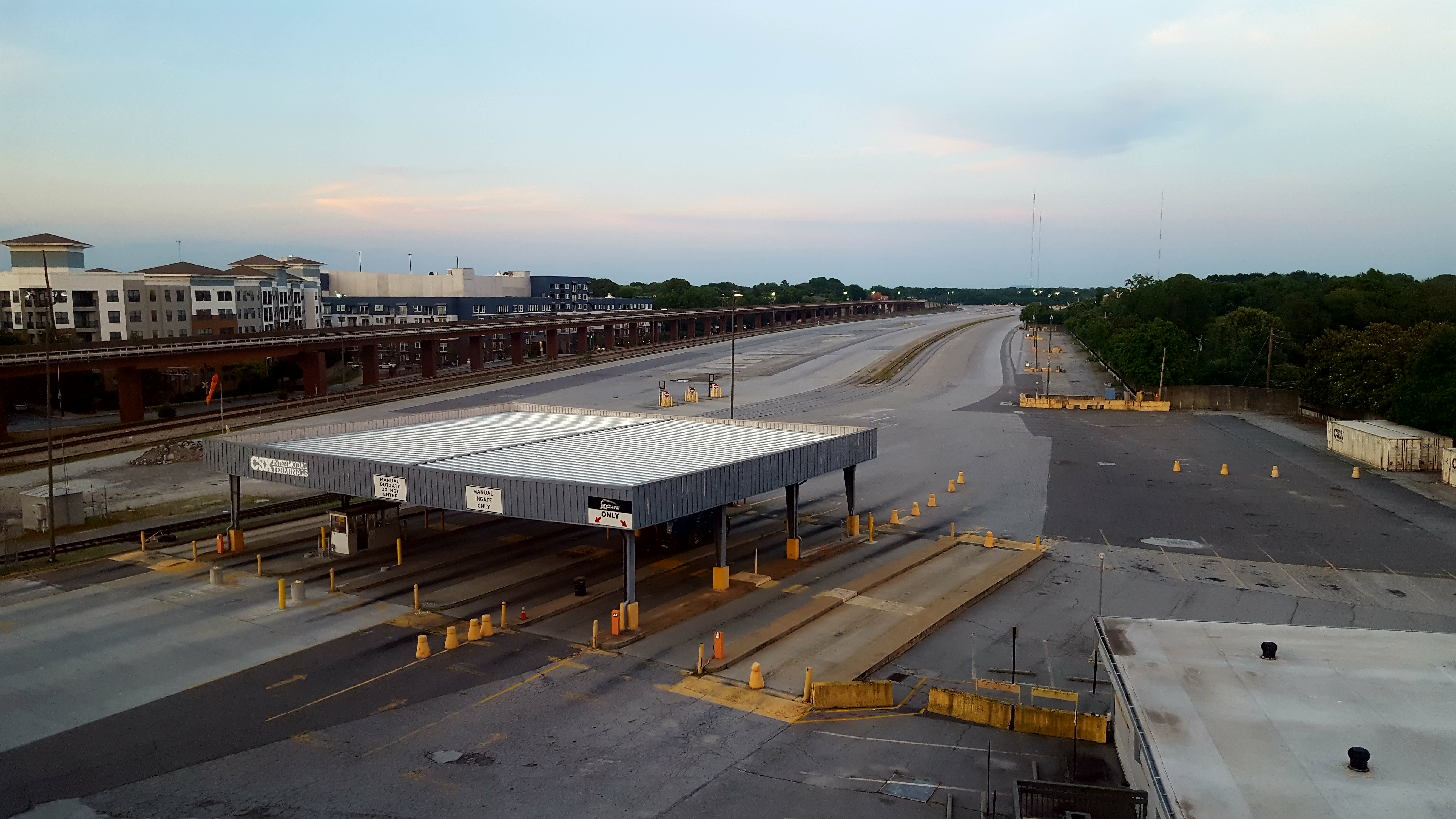 The cleared-out Hulsey Yard seems to stretch on for miles, looking like a concrete desert.
